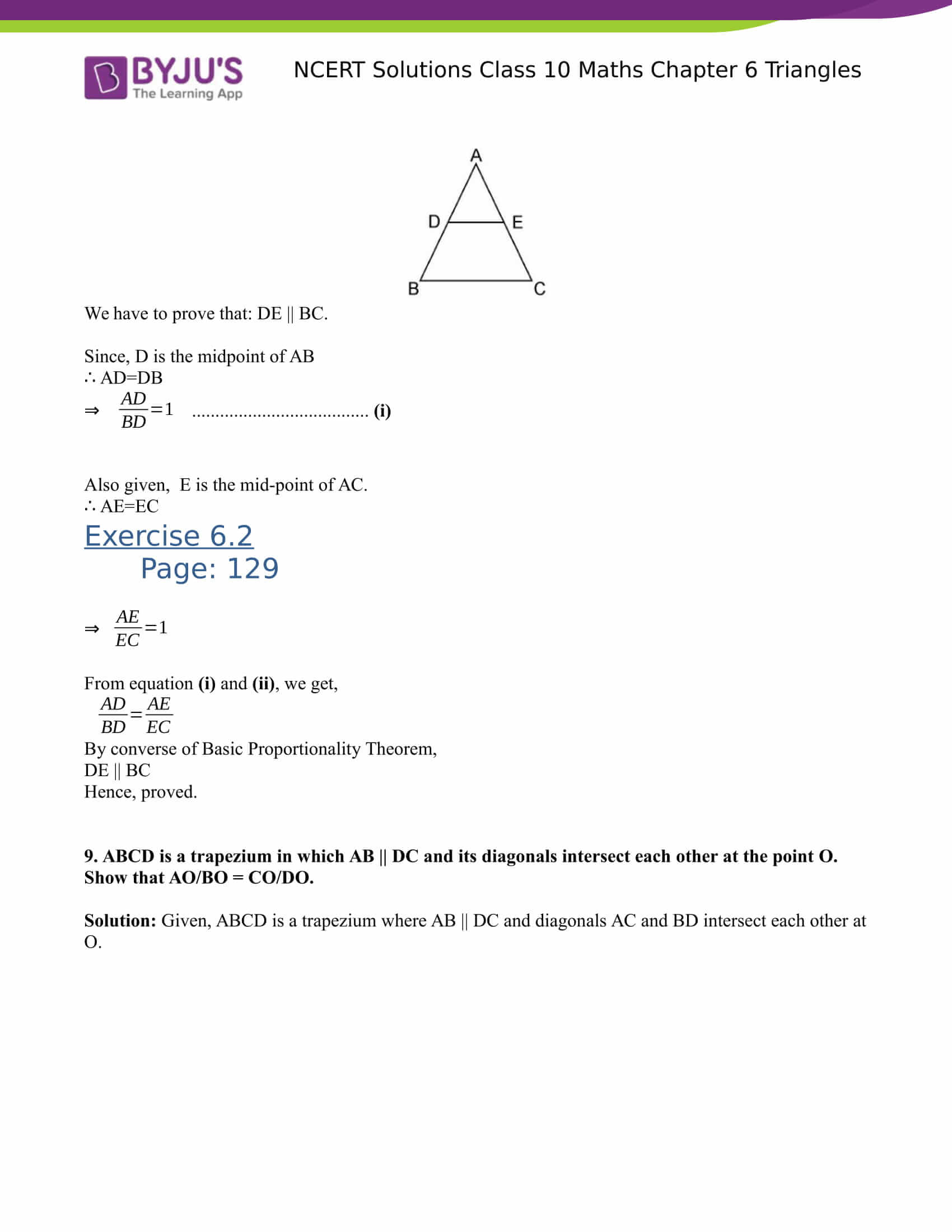NCERT Solutions for class 10 Maths Chapter 6 Triangles Part 9