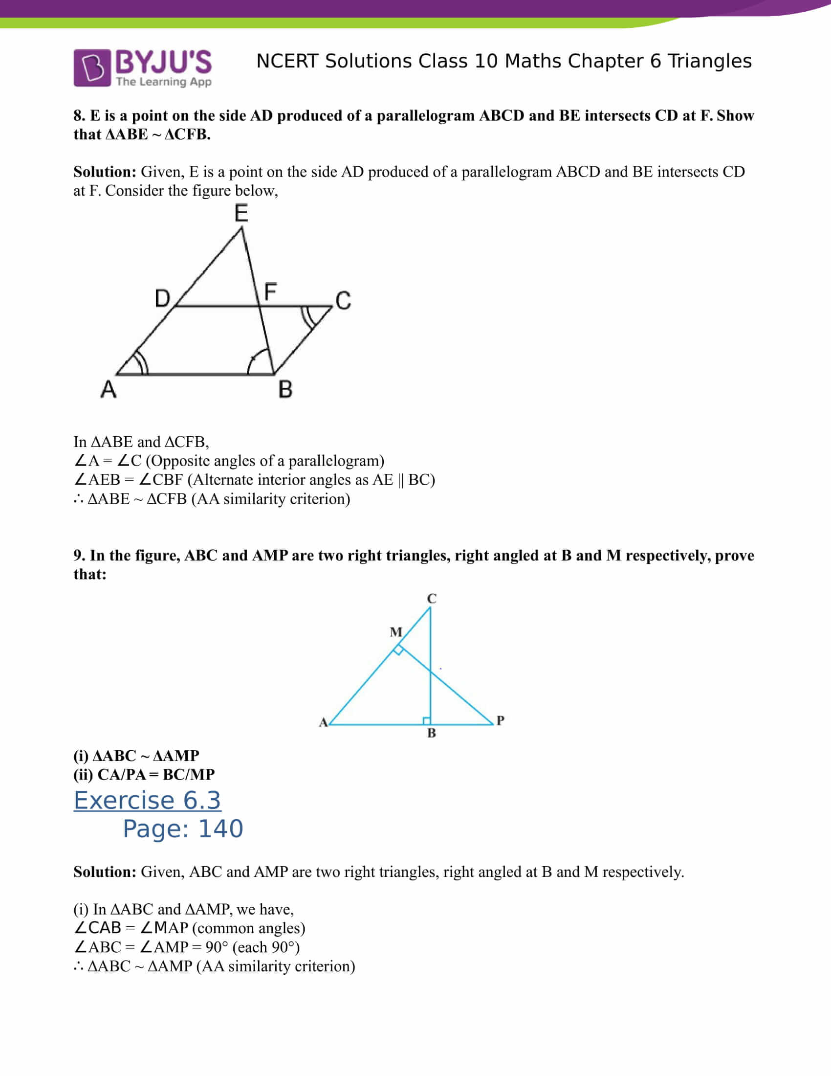 NCERT Solutions for class 10 Maths Chapter 6 Triangles Part 19