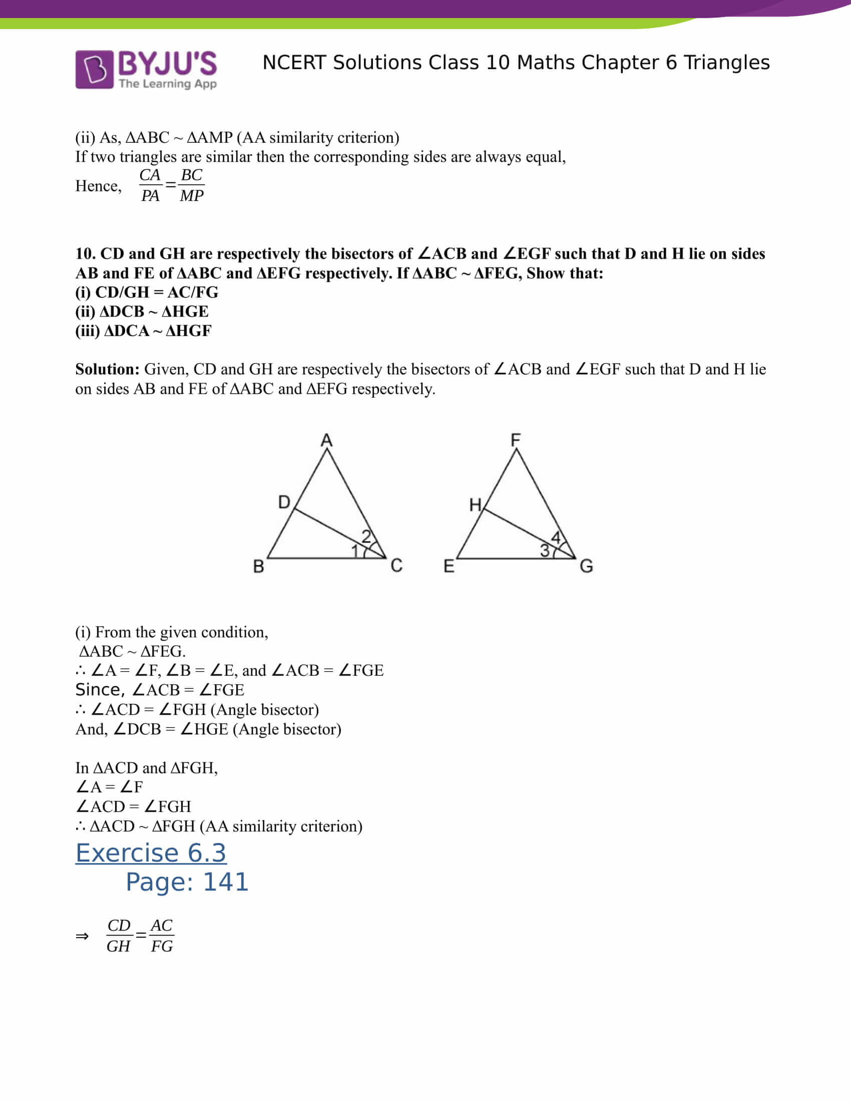 NCERT Solutions for class 10 Maths Chapter 6 Triangles Part 20