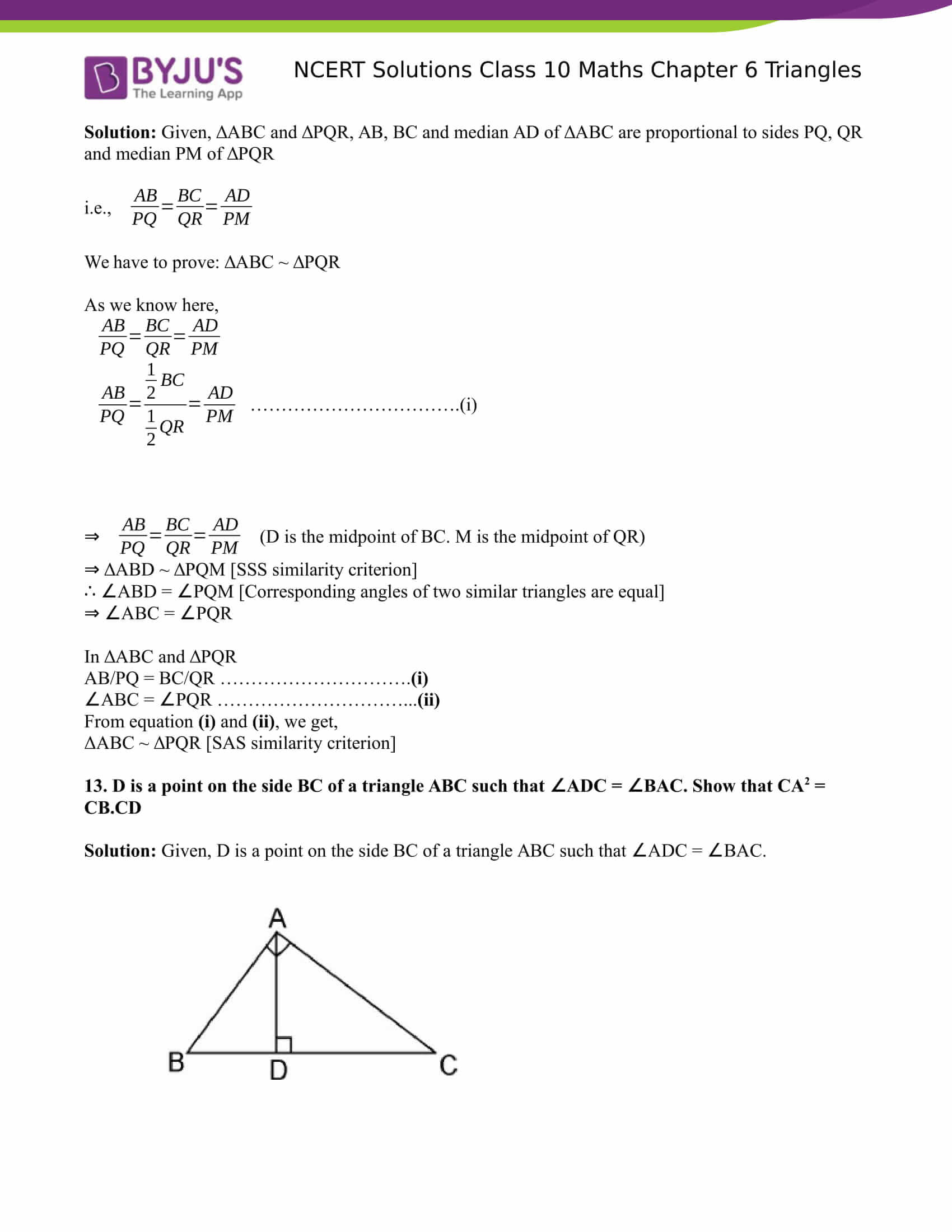 NCERT Solutions for class 10 Maths Chapter 6 Triangles Part 22