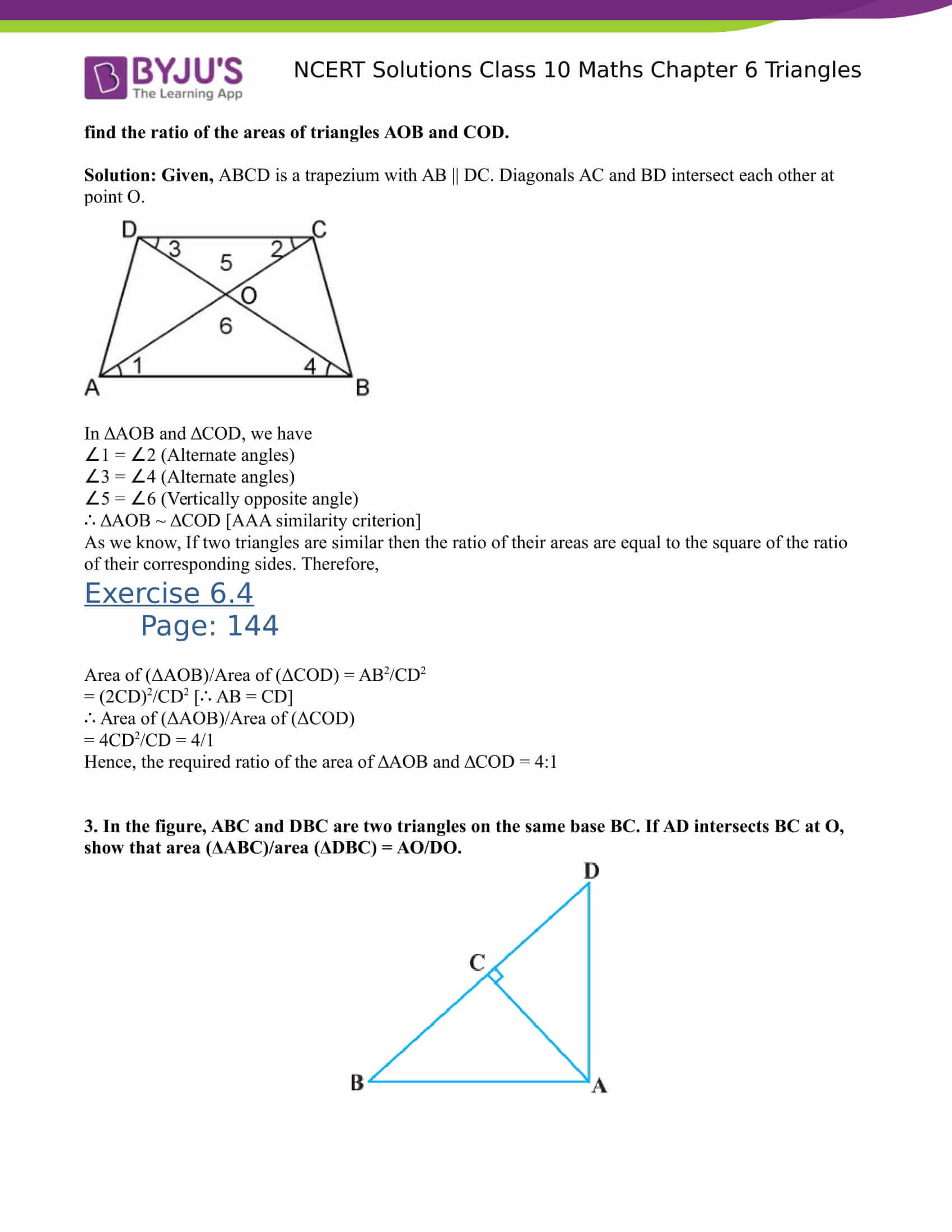 NCERT Solutions for class 10 Maths Chapter 6 Triangles Part 27