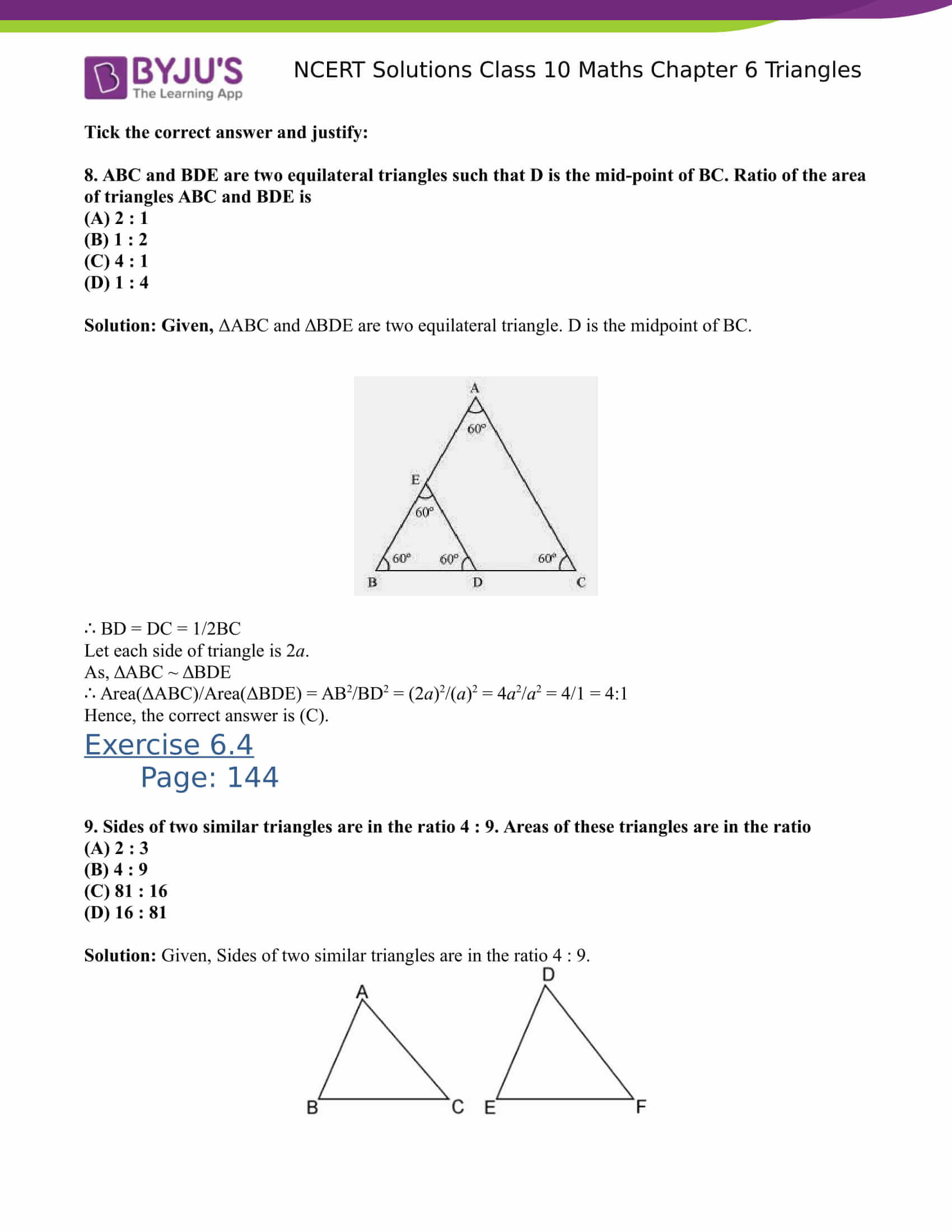 NCERT Solutions for class 10 Maths Chapter 6 Triangles Part 32