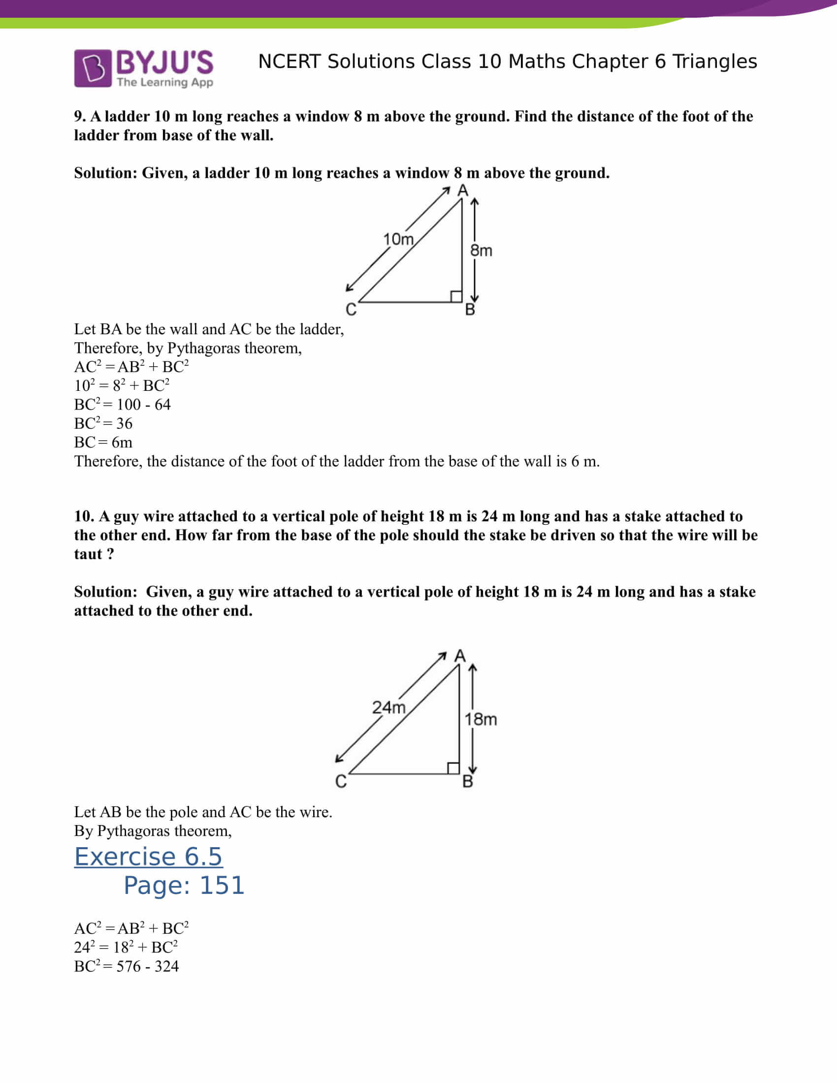 NCERT Solutions for class 10 Maths Chapter 6 Triangles Part 40