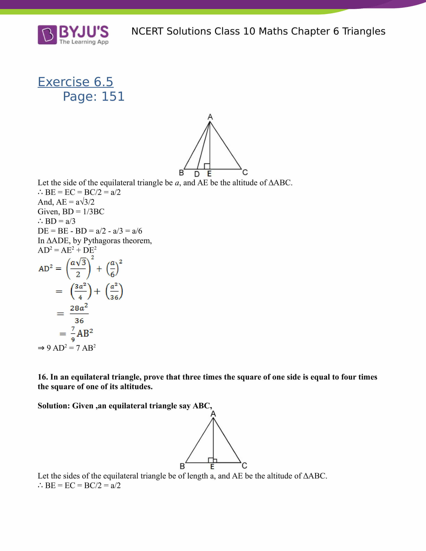 NCERT Solutions for class 10 Maths Chapter 6 Triangles Part 44
