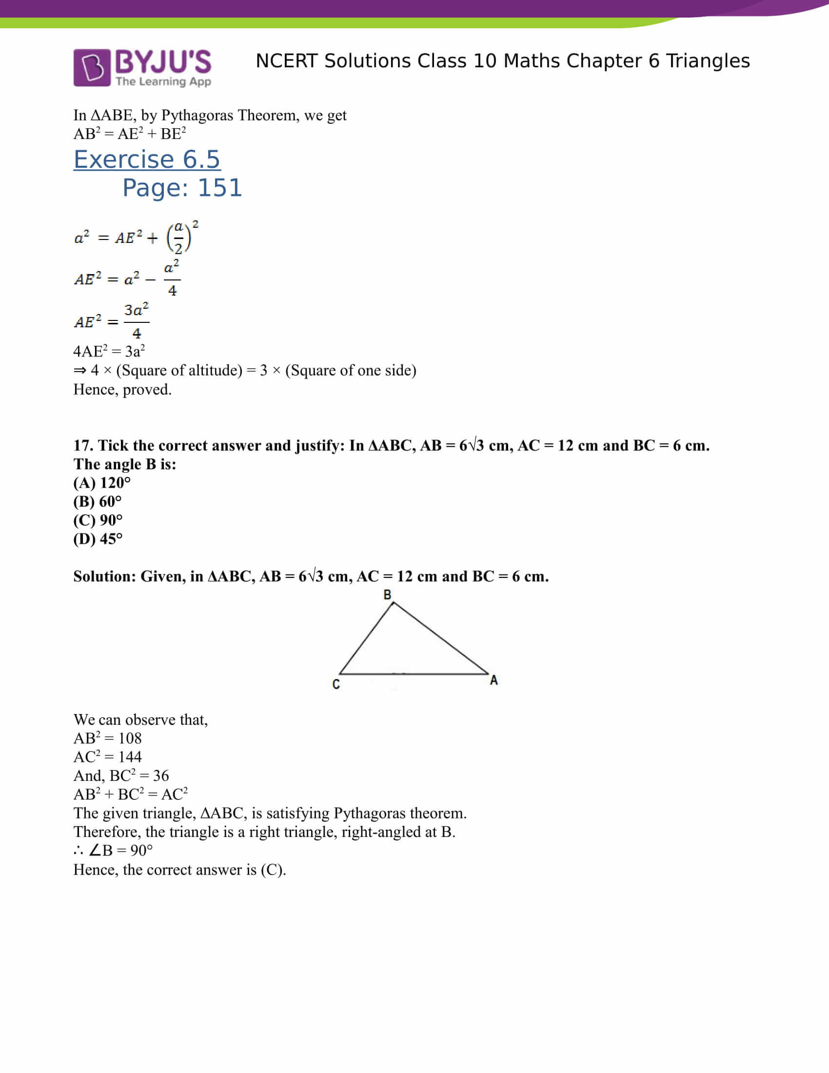 NCERT Solutions for class 10 Maths Chapter 6 Triangles Part 45