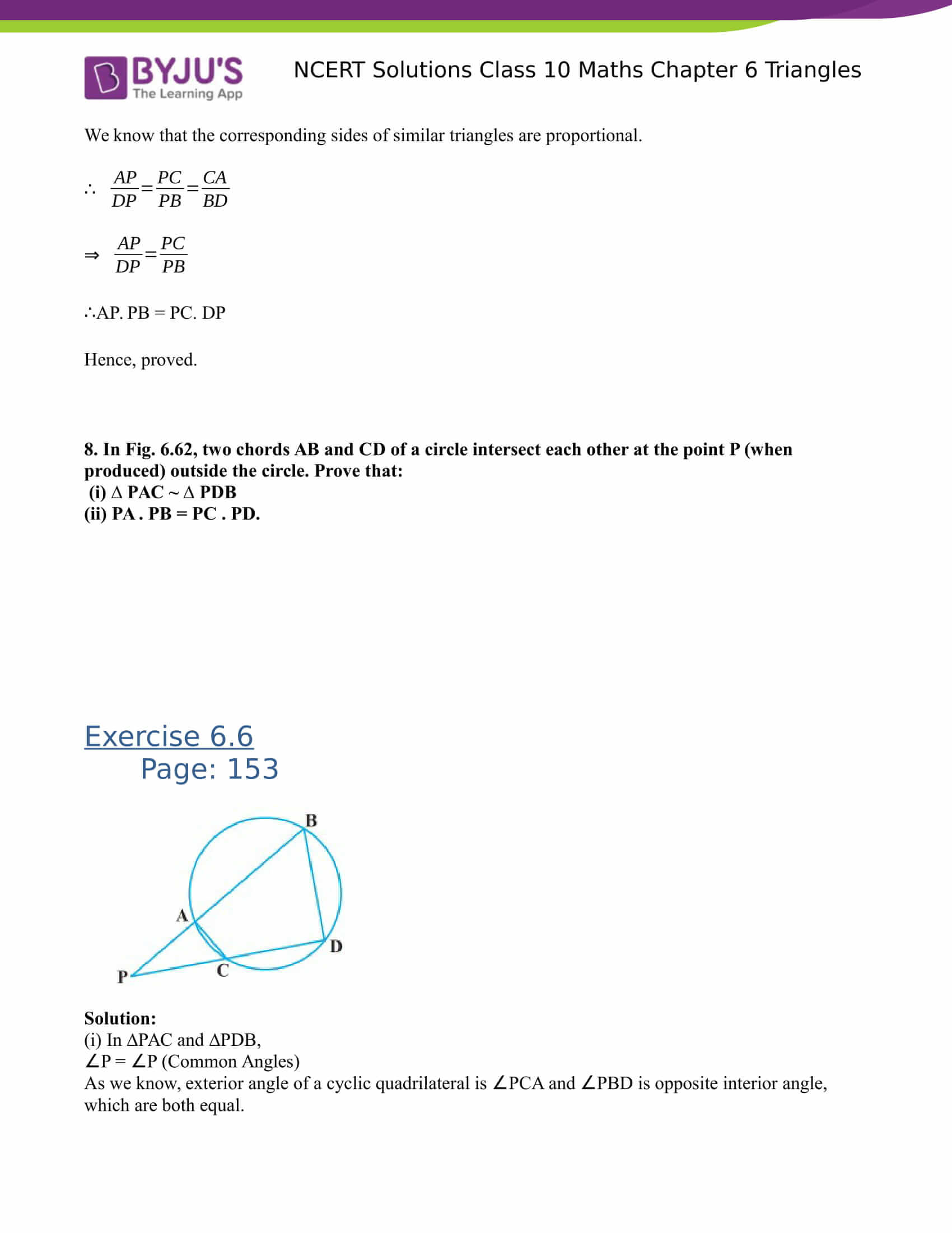 NCERT Solutions for class 10 Maths Chapter 6 Triangles Part 53
