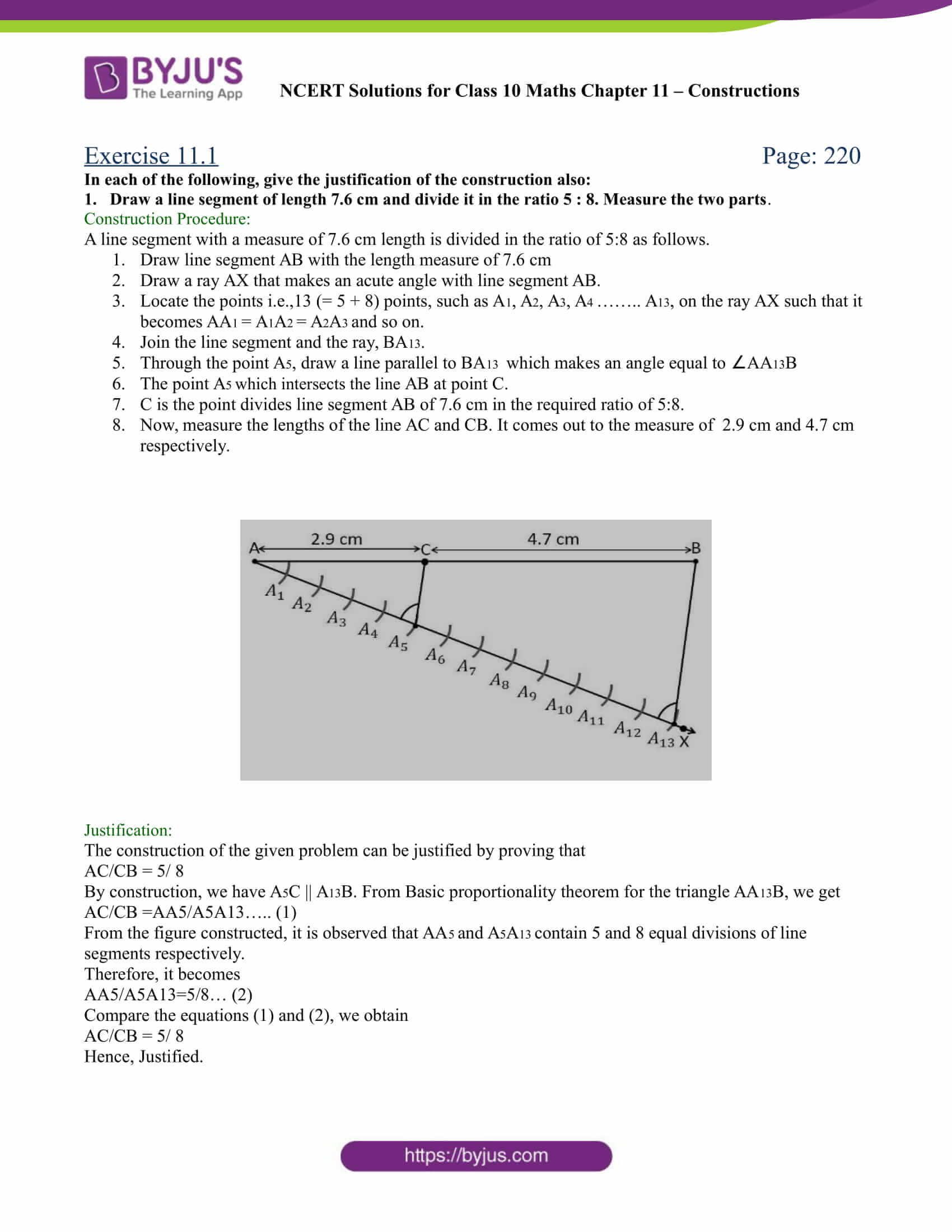 NCERT Solutions Class 10 Maths Chapter 11 Constructions - Download PDF!