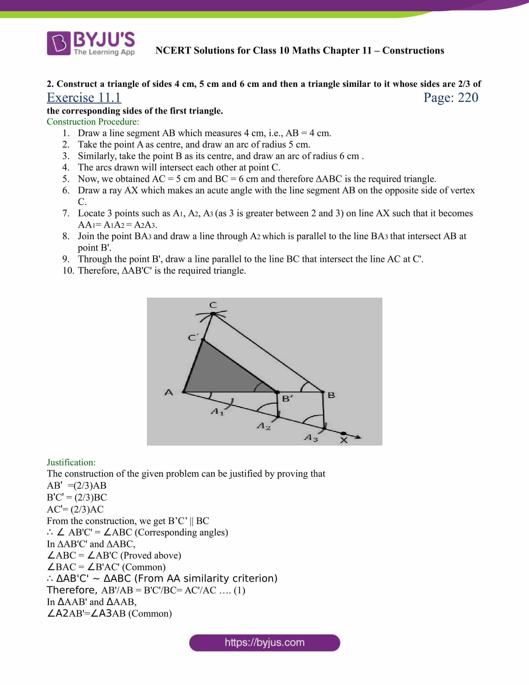 NCERT Solutions for class 10 chapter 11 Constructions Part 2