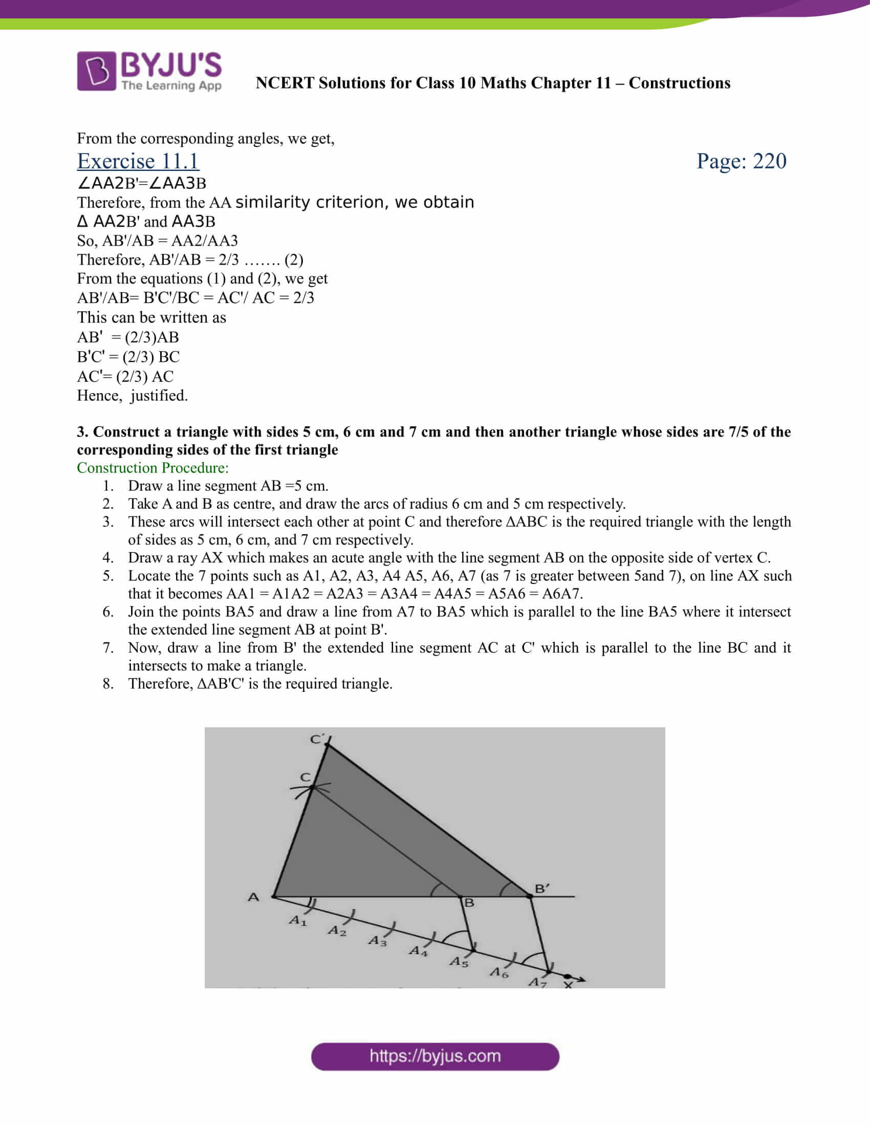 NCERT Solutions for class 10 chapter 11 Constructions Part 3