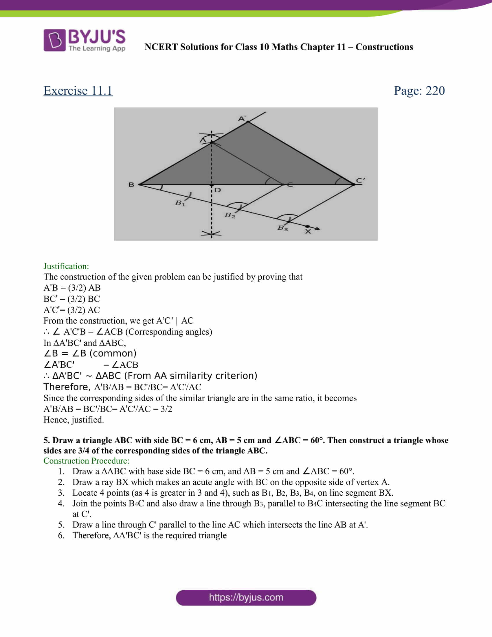 NCERT Solutions for class 10 chapter 11 Constructions Part 5