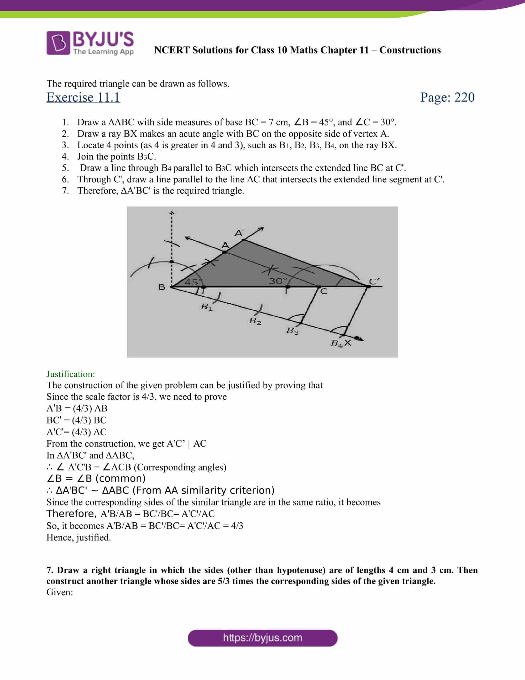 NCERT Solutions for class 10 chapter 11 Constructions Part 7