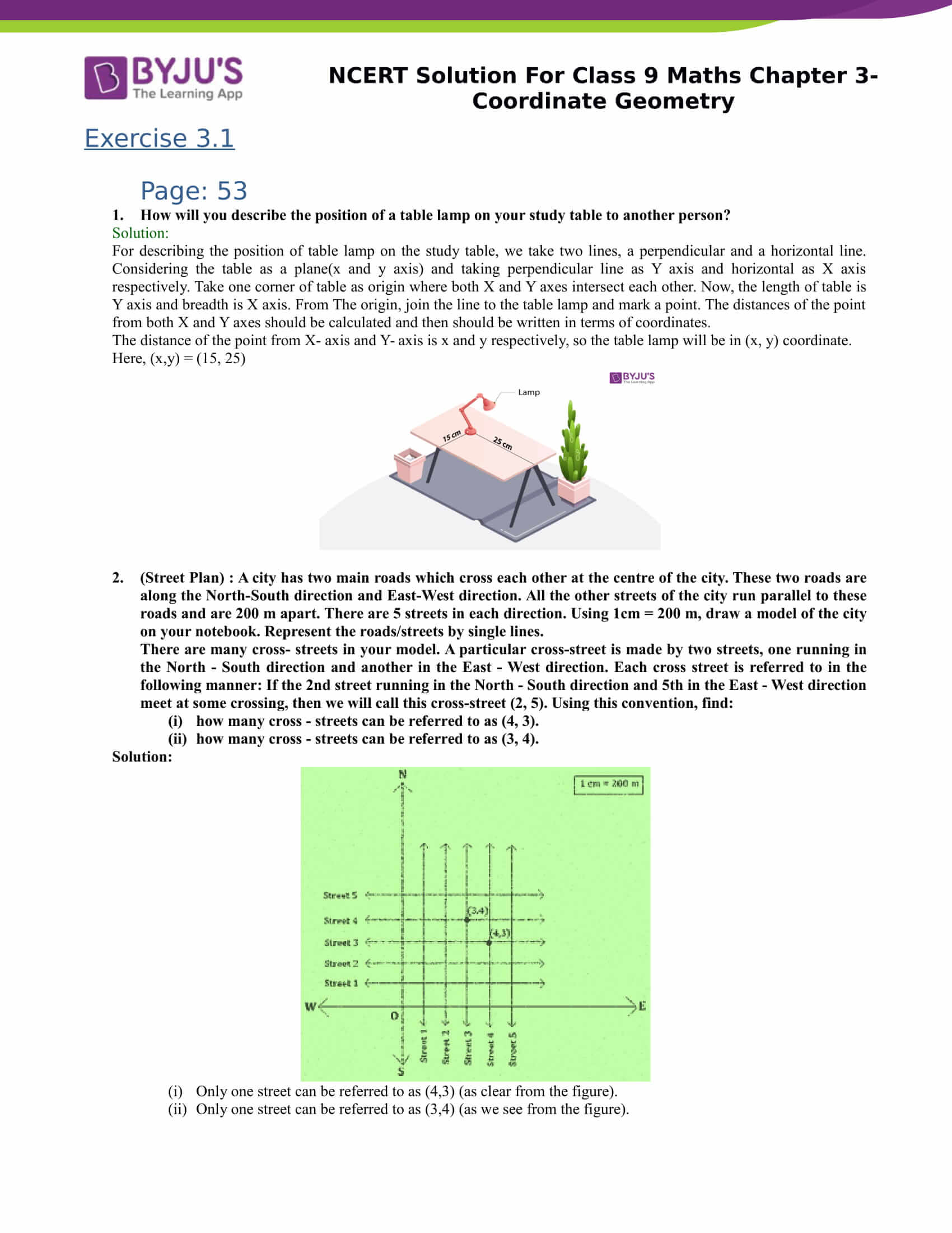 Get NCERT Solutions for Class 9 Maths Chapter 3-Coordinate Geometry