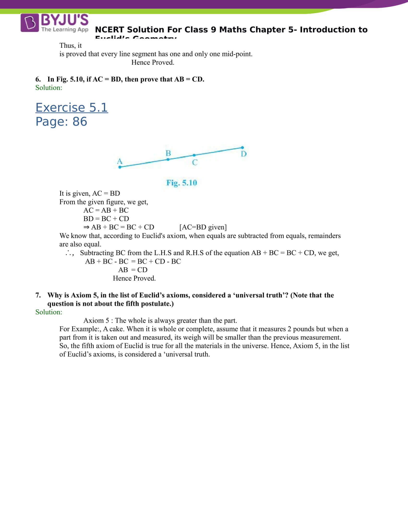 NCERT Solutions for class 9 Maths Chapter 5 Introduction to Euclids Geometry Part 4