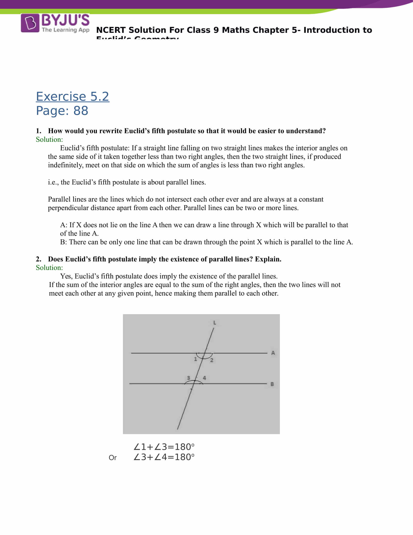 NCERT Solutions for class 9 Maths Chapter 5 Introduction to Euclids Geometry Part 5