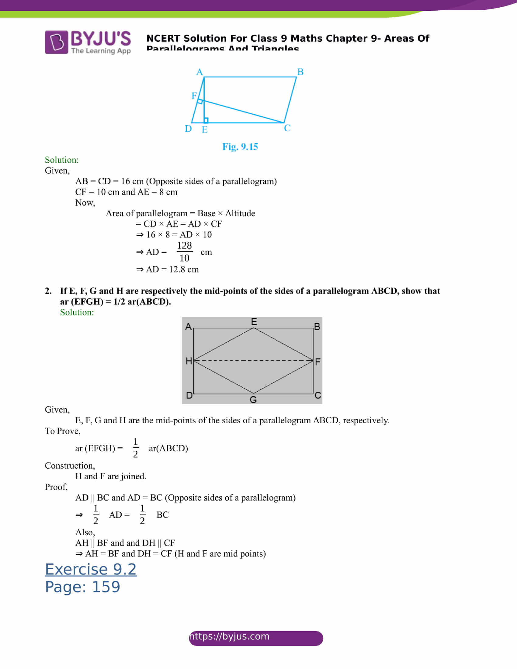 NCERT Solutions for class 9 Maths Chapter 9 Areas of parallelograms and triangles Part 2