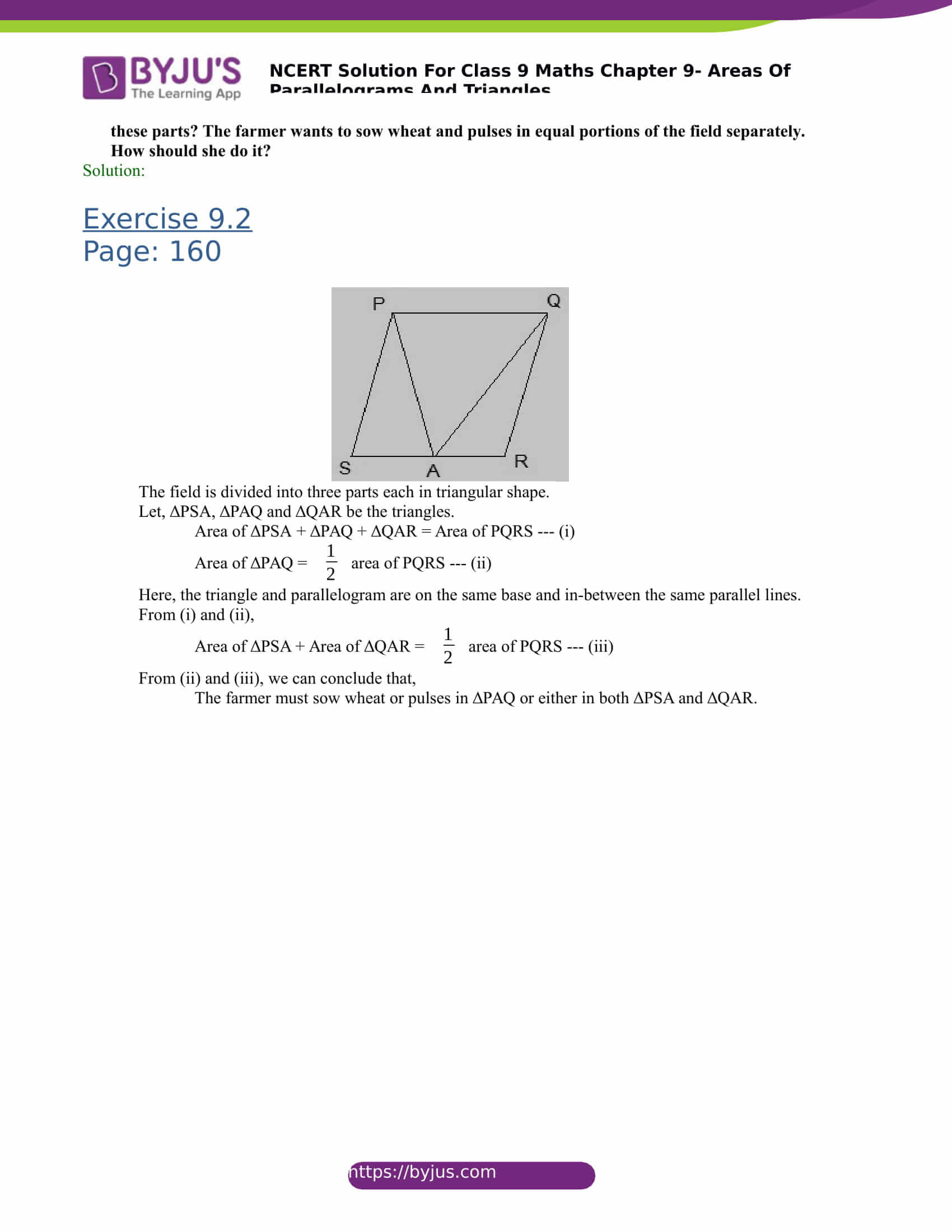 NCERT Solutions for class 9 Maths Chapter 9 Areas of parallelograms and triangles Part 6