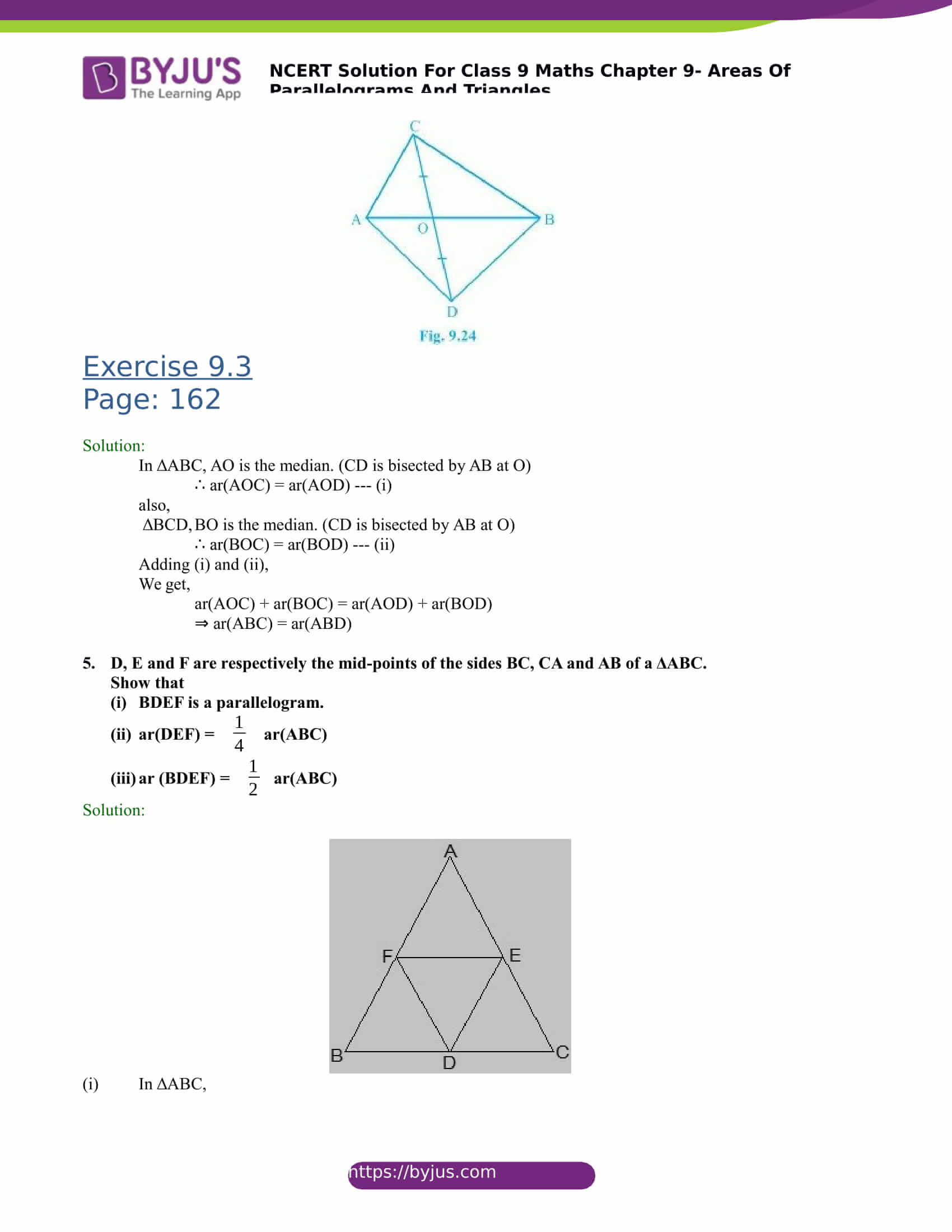 NCERT Solutions for class 9 Maths Chapter 9 Areas of parallelograms and triangles Part 9