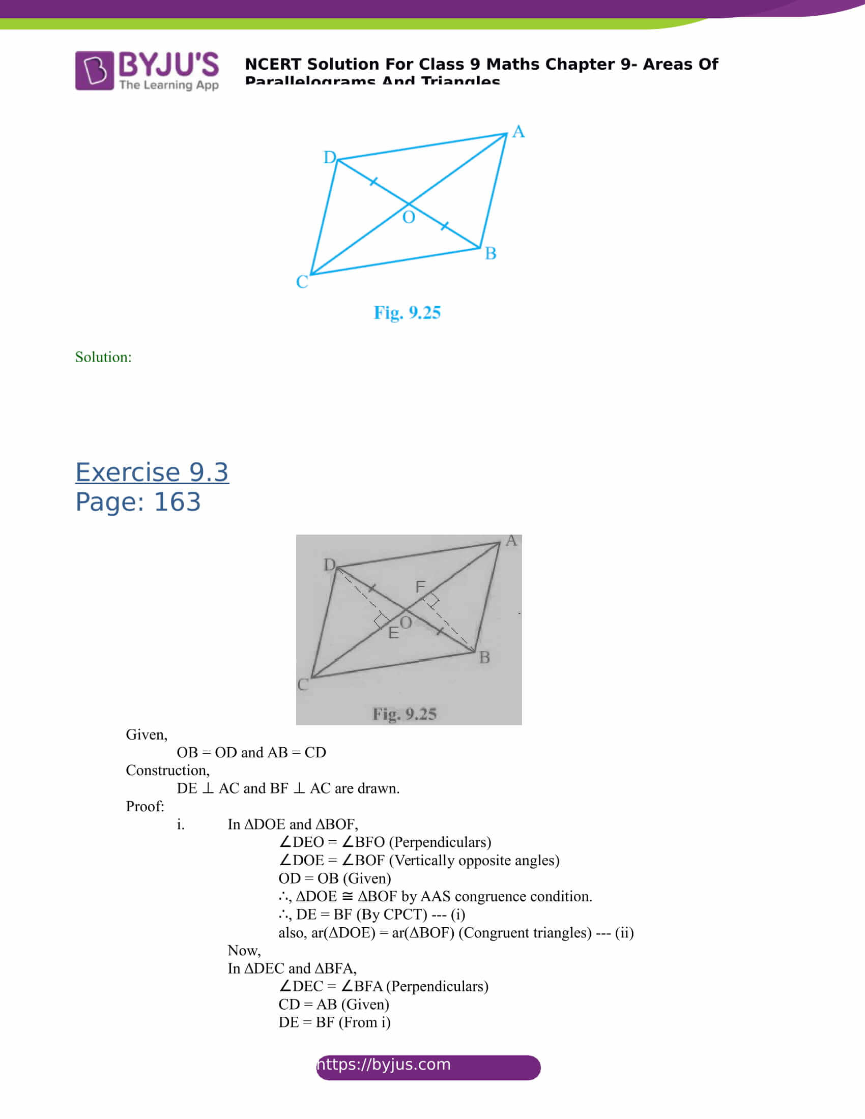 NCERT Solutions for class 9 Maths Chapter 9 Areas of parallelograms and triangles Part 11