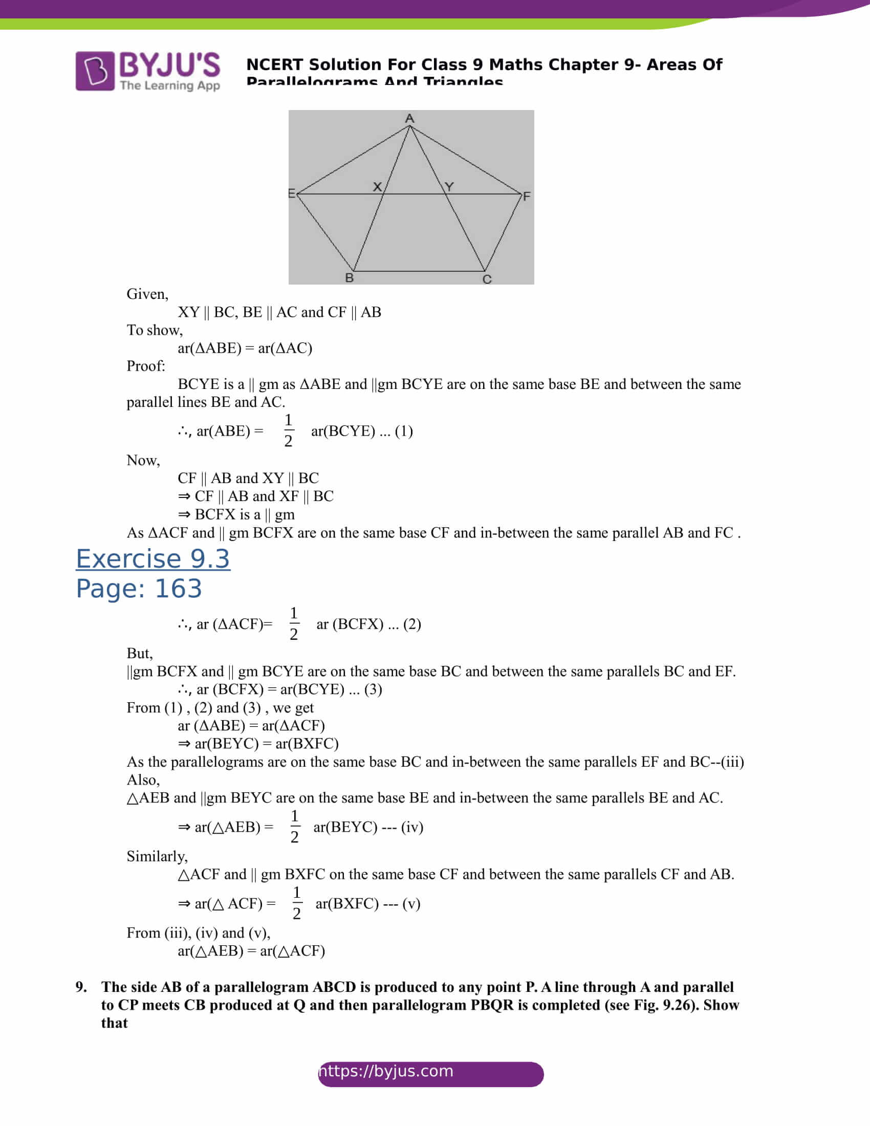 NCERT Solutions for class 9 Maths Chapter 9 Areas of parallelograms and triangles Part 13