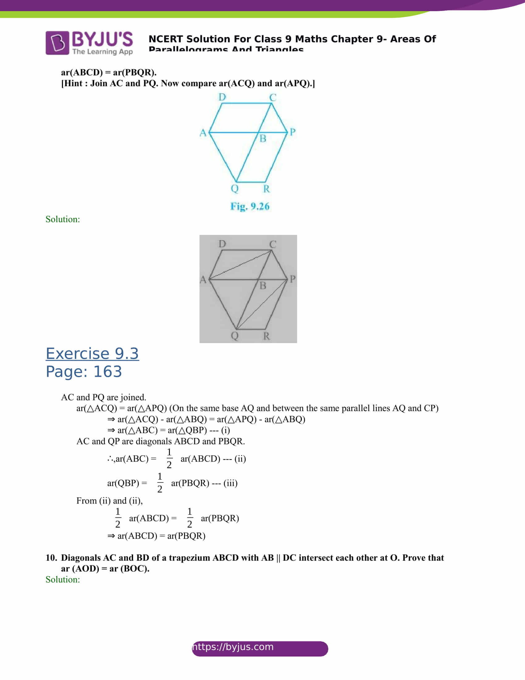 NCERT Solutions for class 9 Maths Chapter 9 Areas of parallelograms and triangles Part 14
