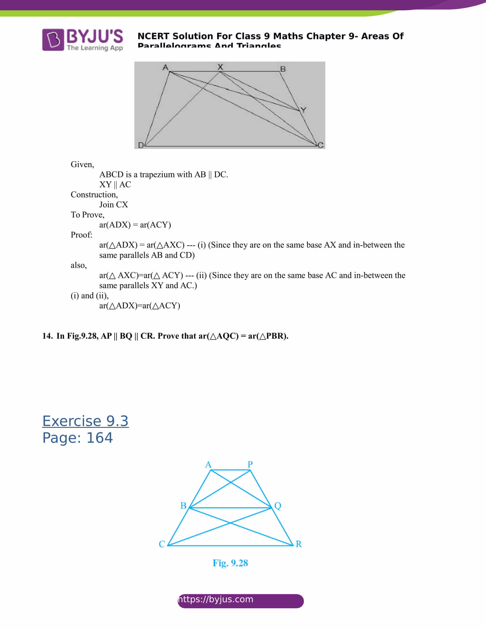 NCERT Solutions for class 9 Maths Chapter 9 Areas of parallelograms and triangles Part 17