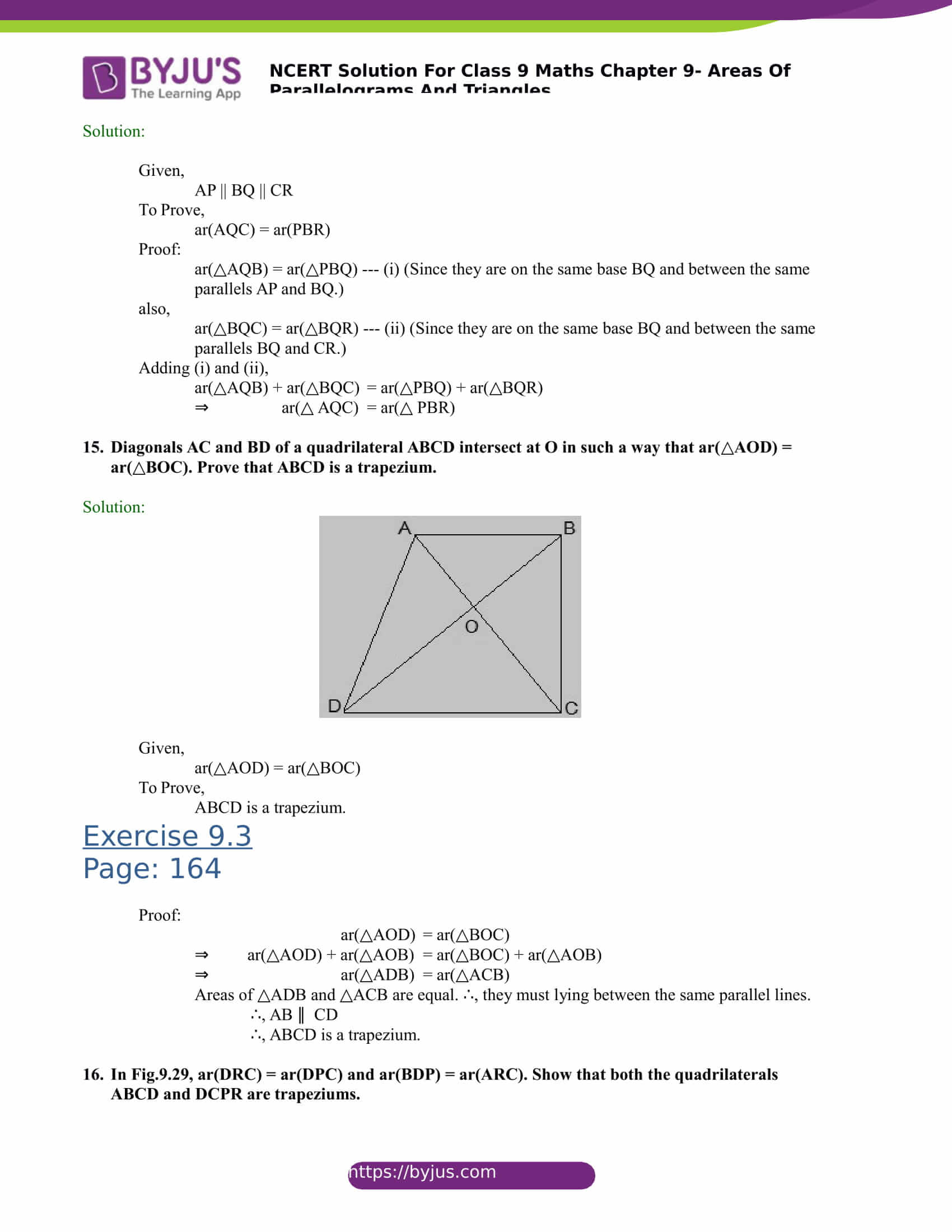 NCERT Solutions for class 9 Maths Chapter 9 Areas of parallelograms and triangles Part 18