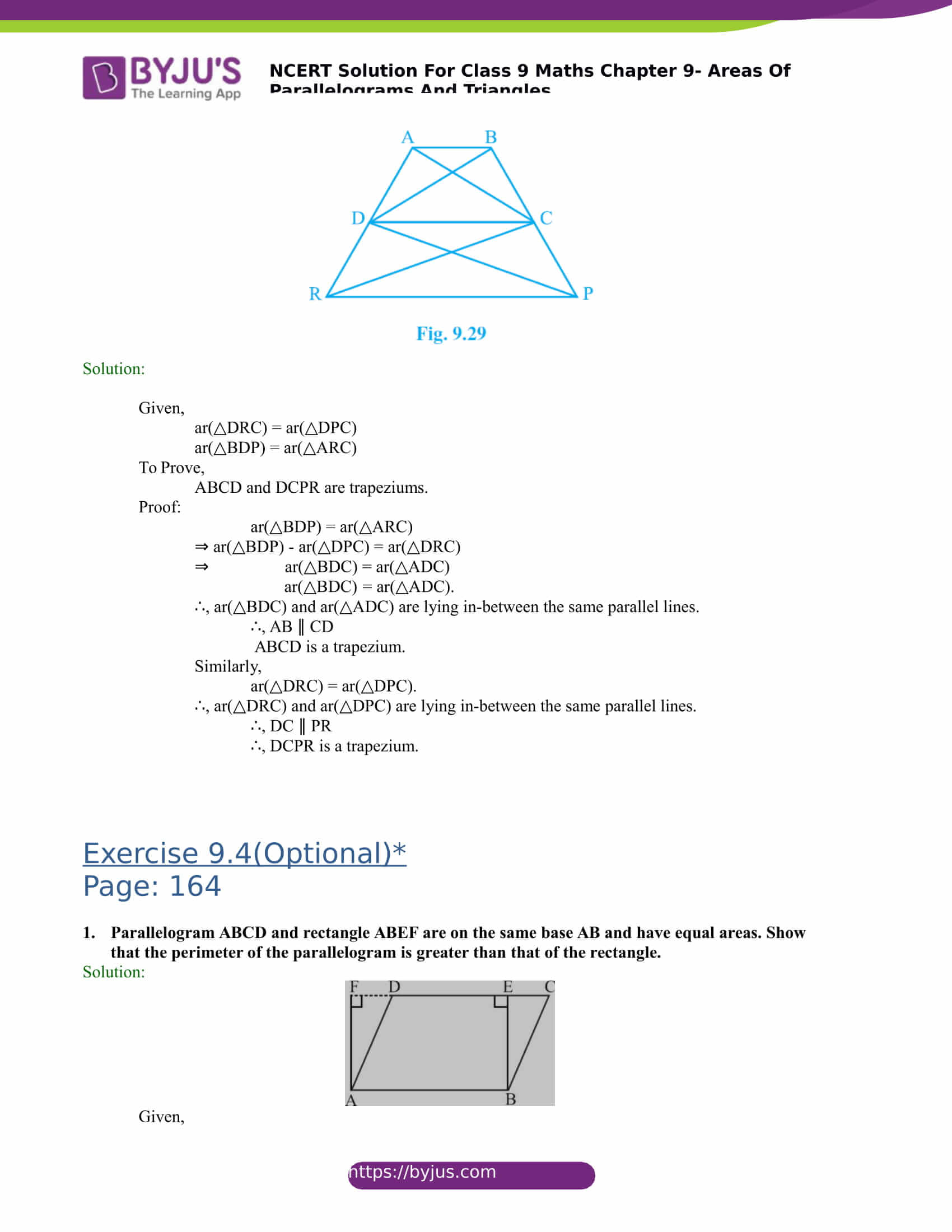 NCERT Solutions for class 9 Maths Chapter 9 Areas of parallelograms and triangles Part 19
