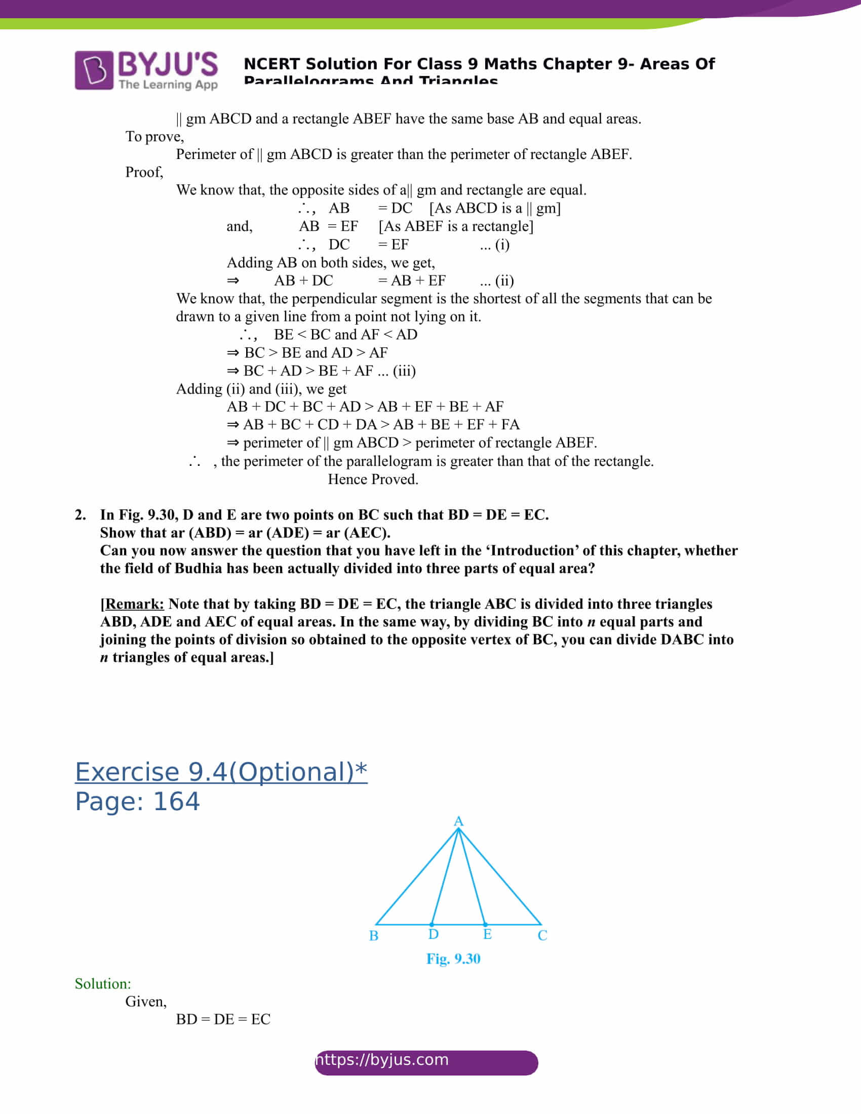 NCERT Solutions for class 9 Maths Chapter 9 Areas of parallelograms and triangles Part 20
