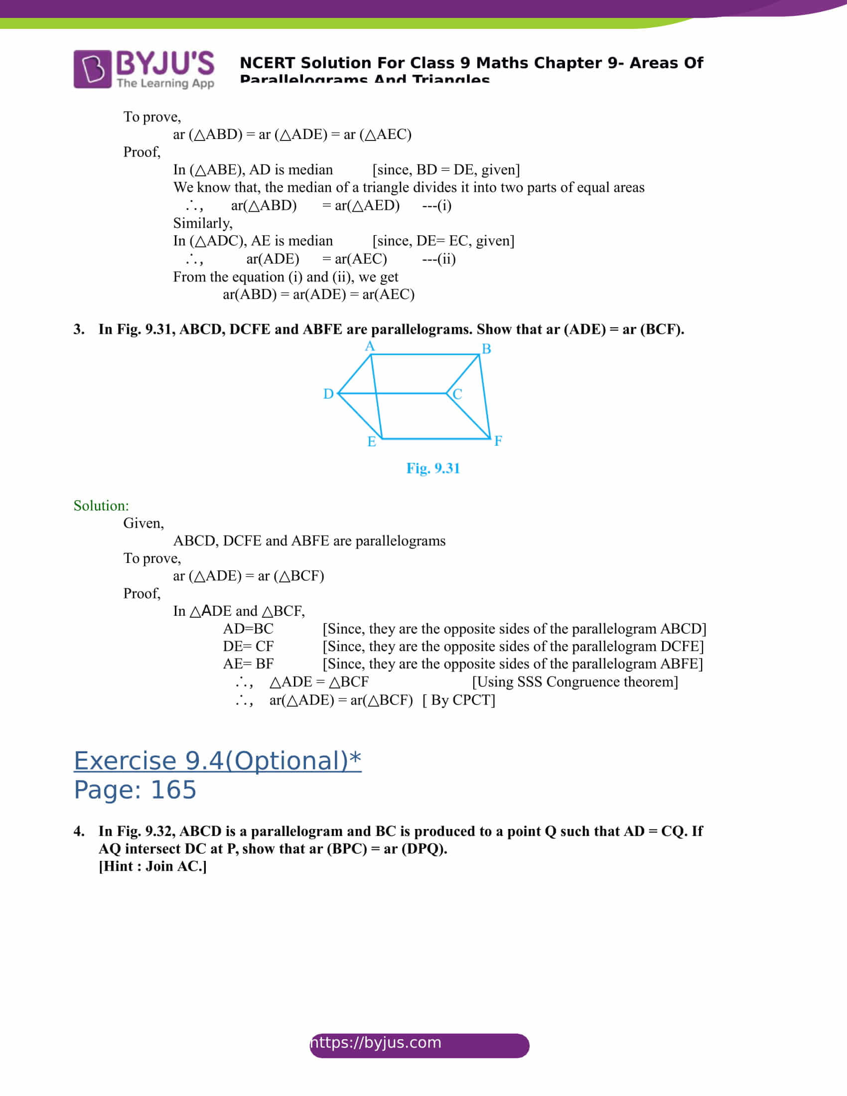 NCERT Solutions for class 9 Maths Chapter 9 Areas of parallelograms and triangles Part 21