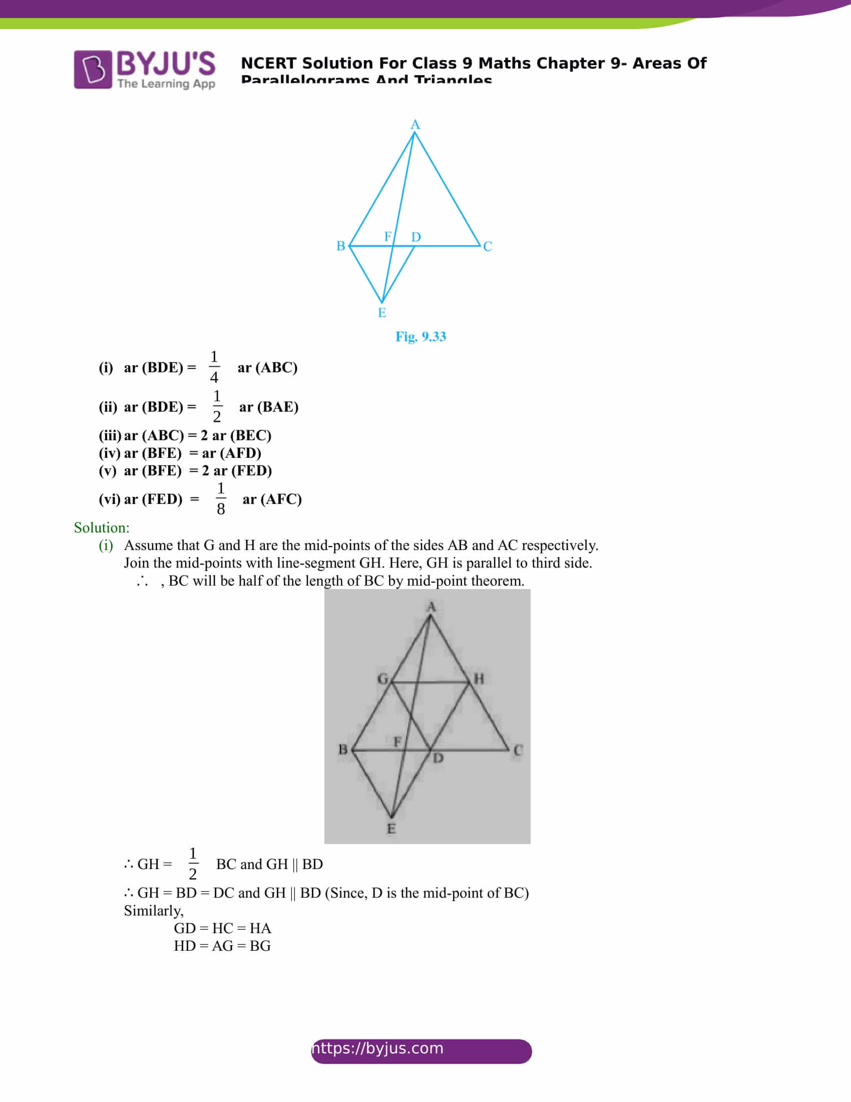 NCERT Solutions for class 9 Maths Chapter 9 Areas of parallelograms and triangles Part 23