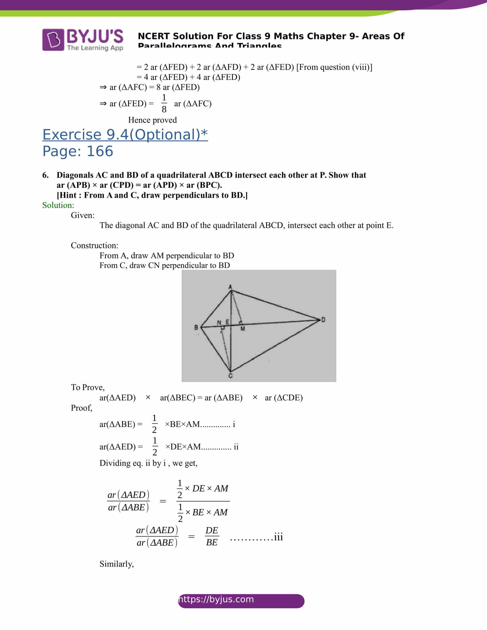 NCERT Solutions for class 9 Maths Chapter 9 Areas of parallelograms and triangles Part 26