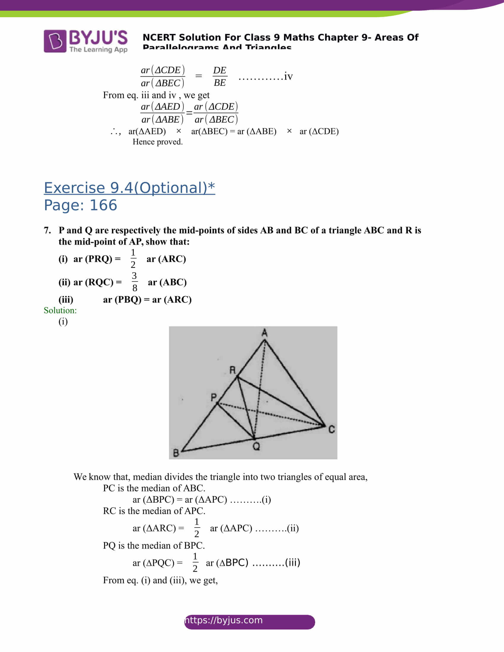 NCERT Solutions for class 9 Maths Chapter 9 Areas of parallelograms and triangles Part 27