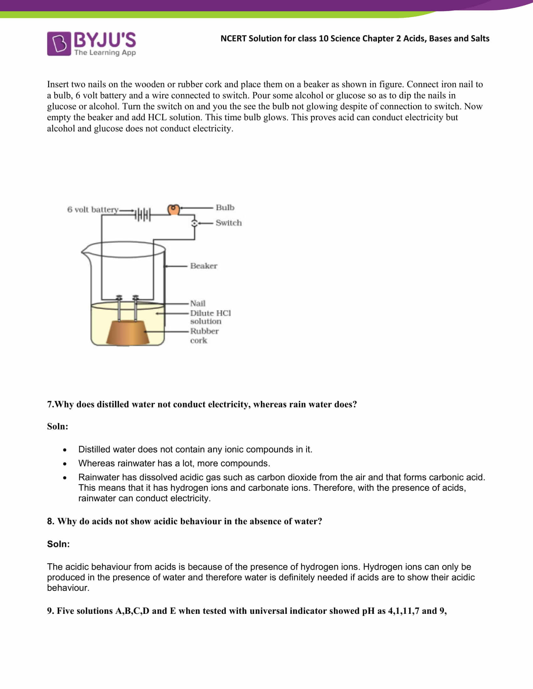 NCERT Solutions Class 10 Science Chapter 2 Acid Bases and ...