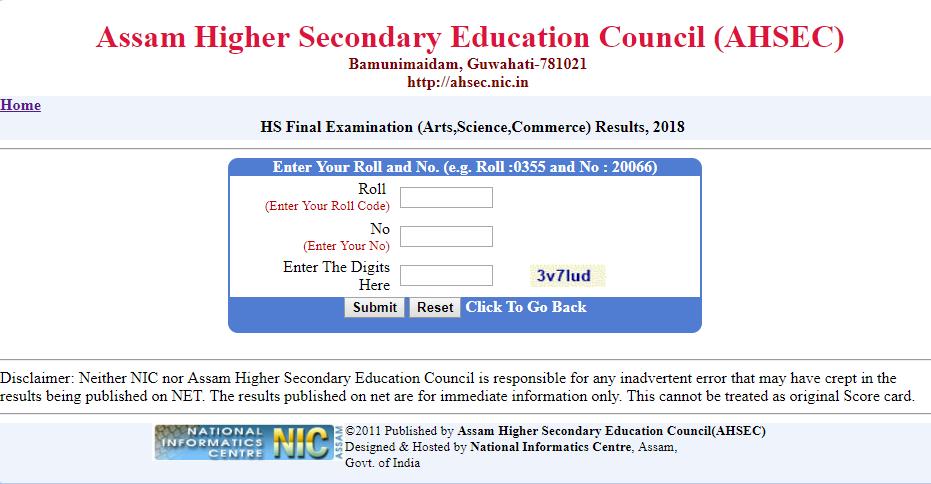 AHSEC Class 12 Results 2019