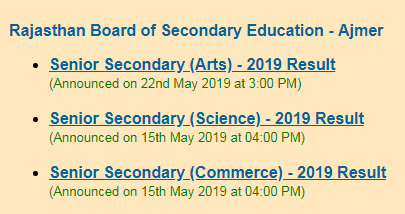 RBSE 12th Result 2019 Out for Science, Commerce and Arts Stream