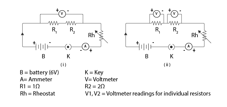 circuit diagram of the equivalent resistance of two resistors when connected in series