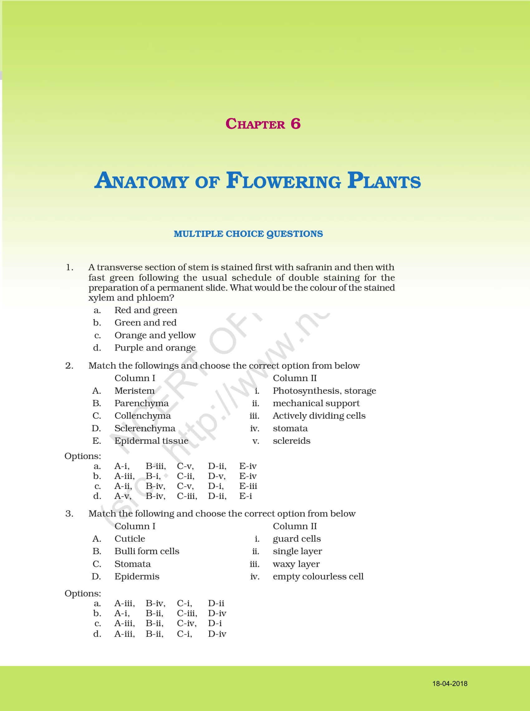 NCERT Exemplar Class 11 Biology