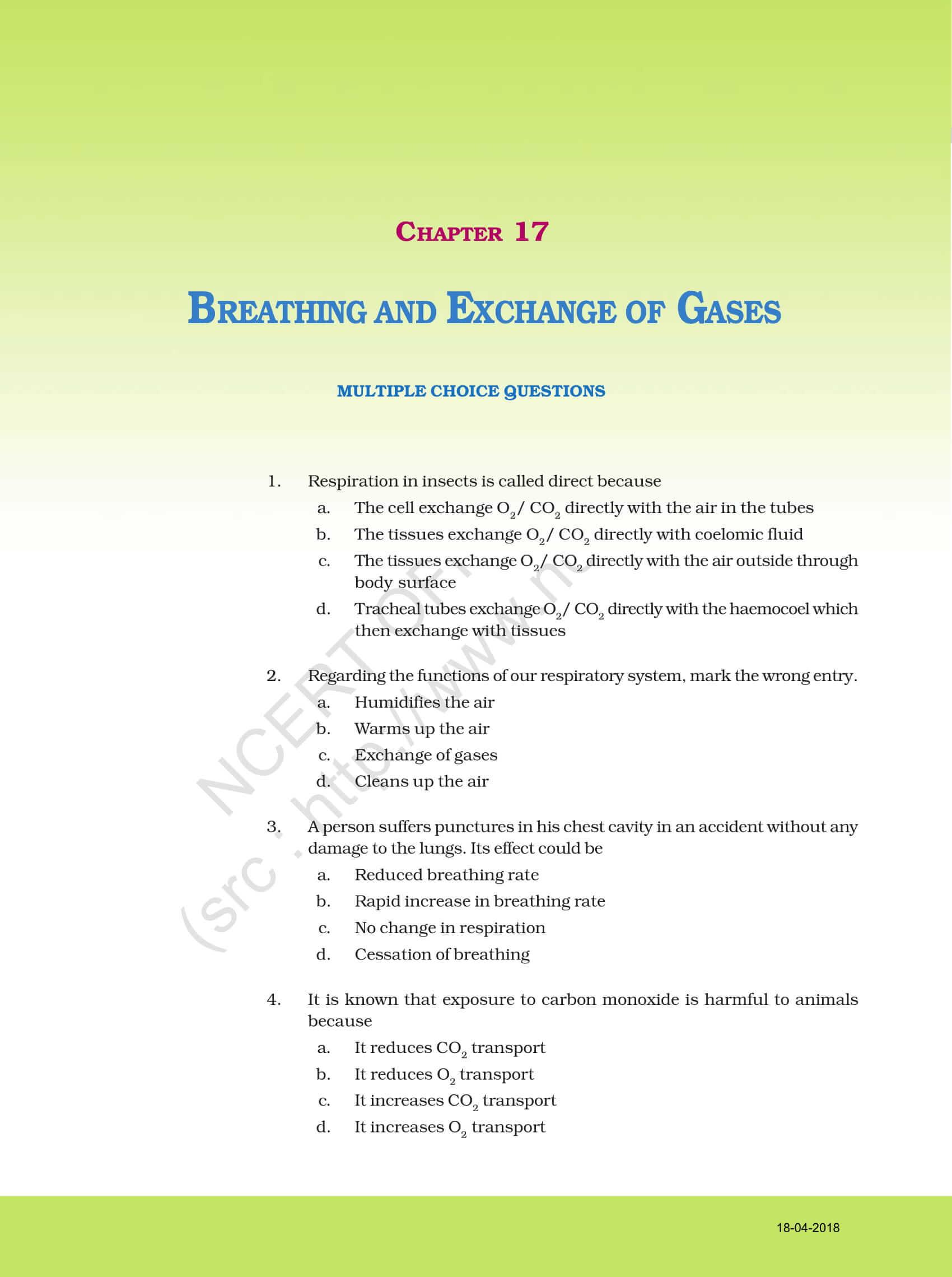 NCERT Exemplar Solution for Class 11 Biology Chapter 17