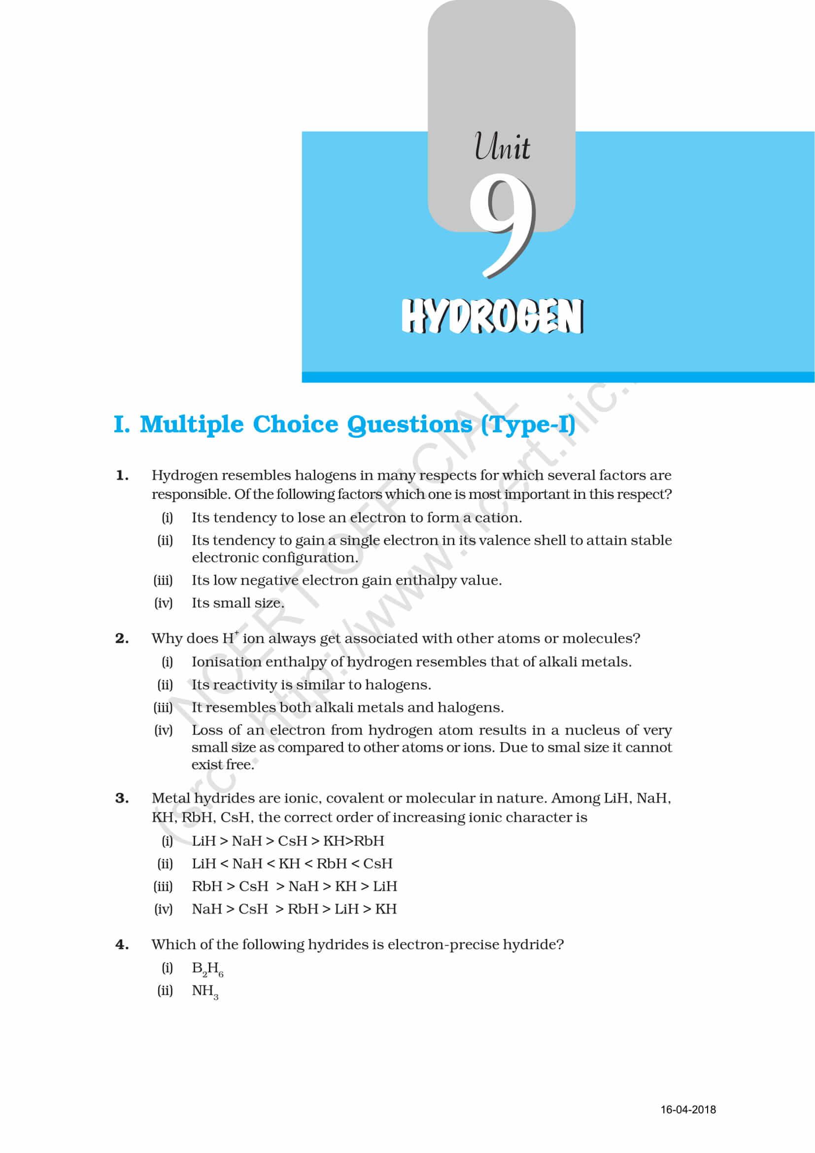 NCERT Exemplar Class 11 Chemistry Solutions Chapter 9