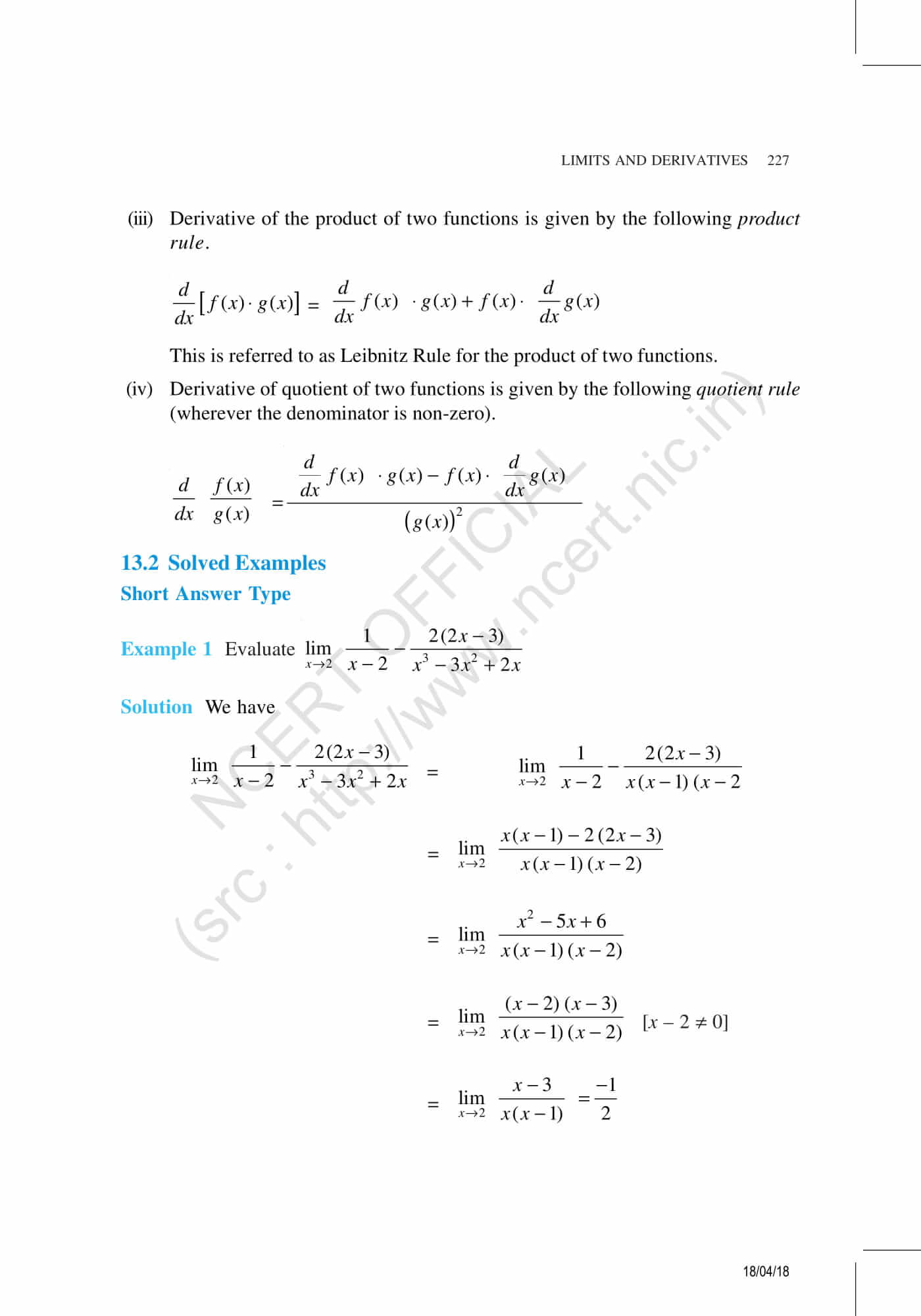NCERT Exemplar Class 11 Maths Solutions Chapter 13 | PDF