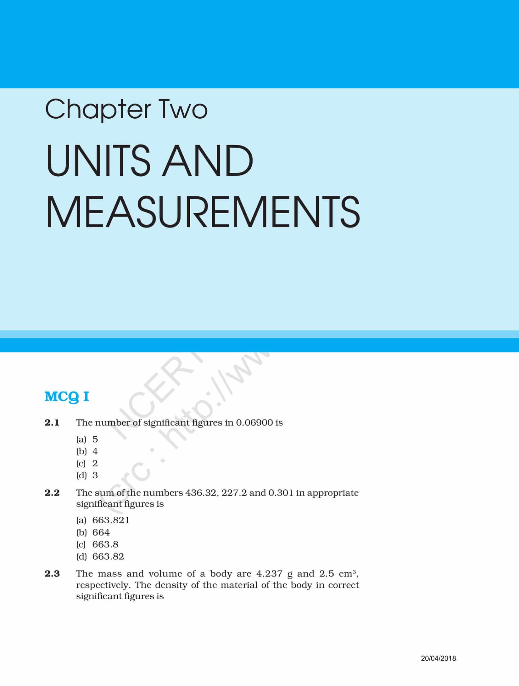 NCERT Exemplar Class 11 Physics Solutions Chapter 2