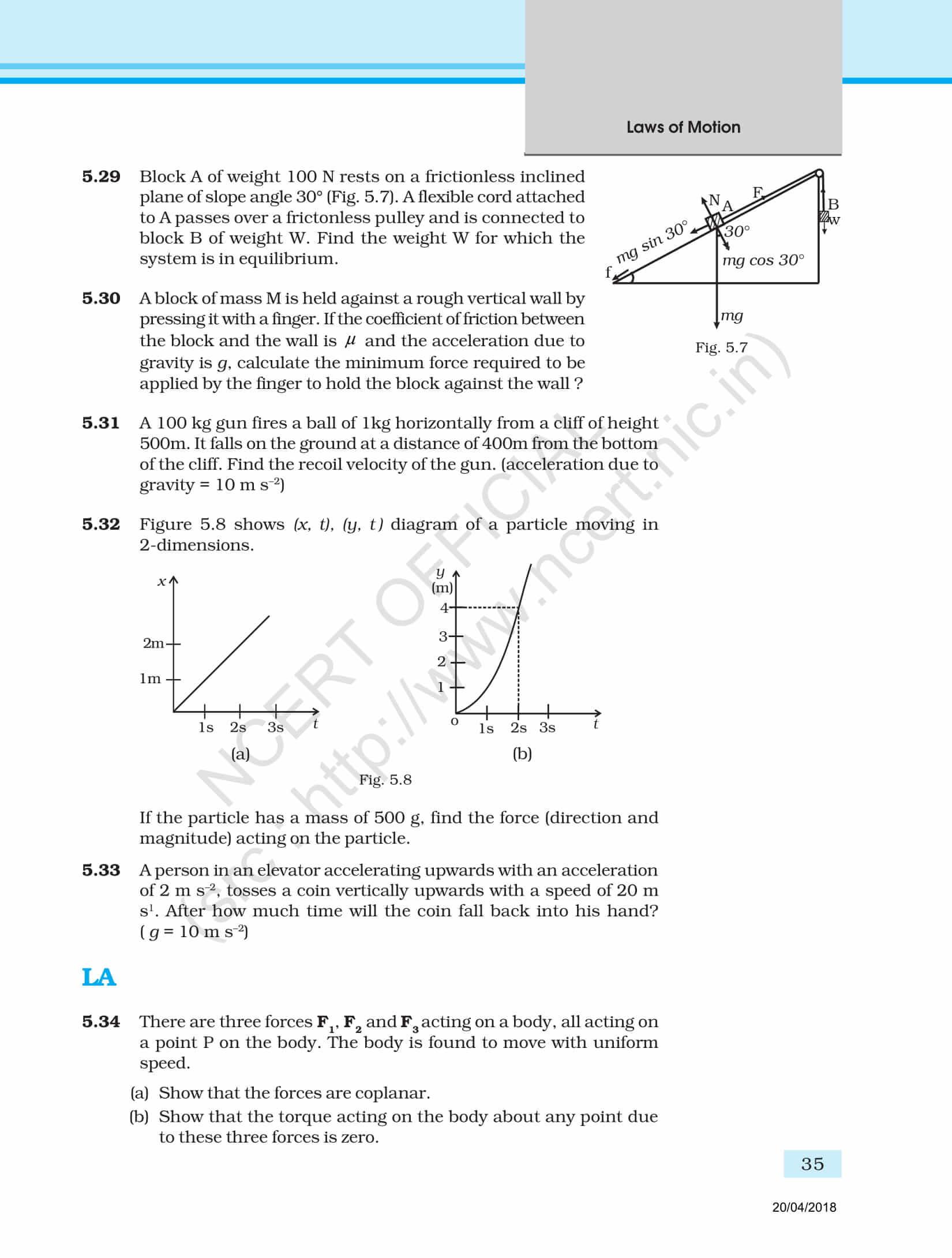 NCERT Exemplar Class 11 Physics