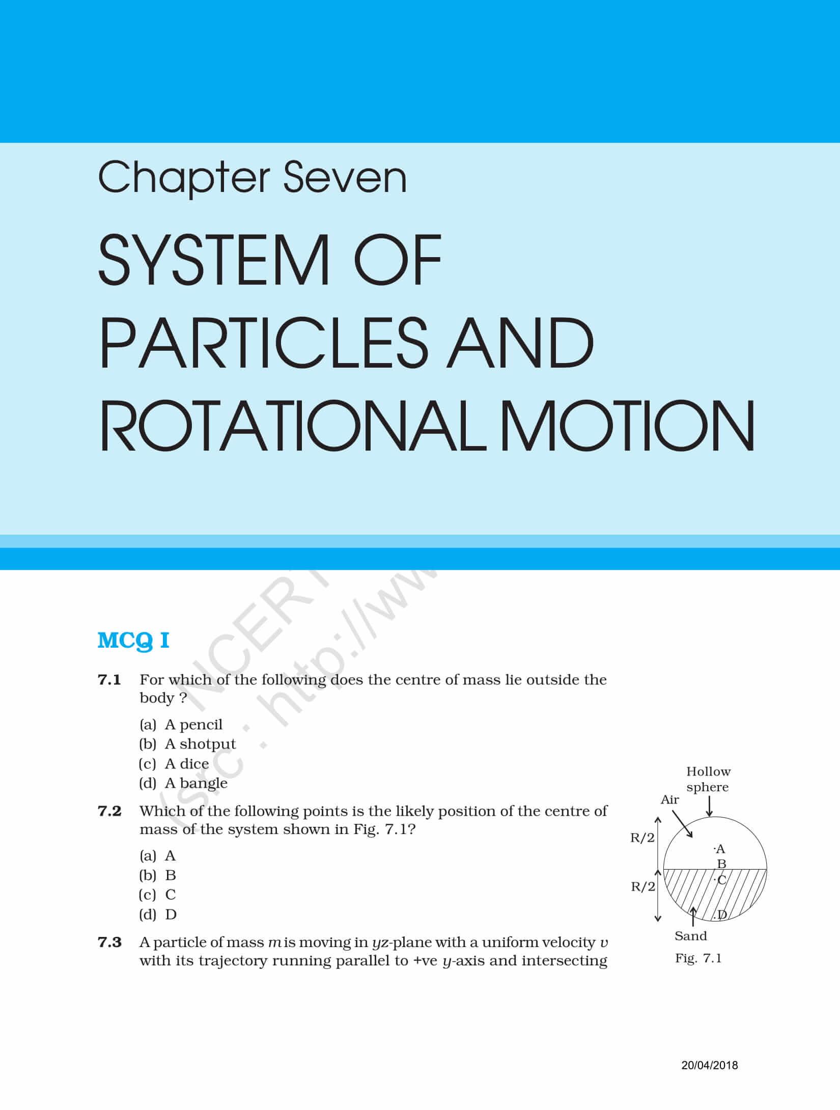 NCERT Exemplar Class 11 Physics Solutions Chapter 7 | Visit