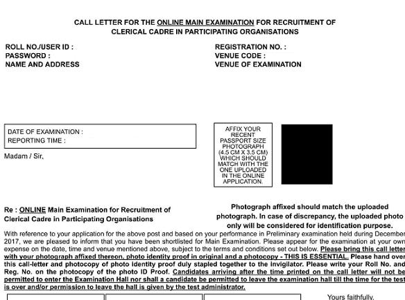 IBPS Clerk Mains Admit Card