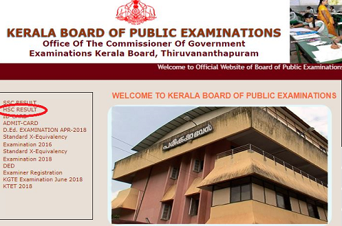 Kerala Board Home Page- HSC Result link