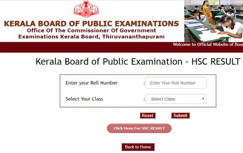 Kerala Board Website HSC Result login