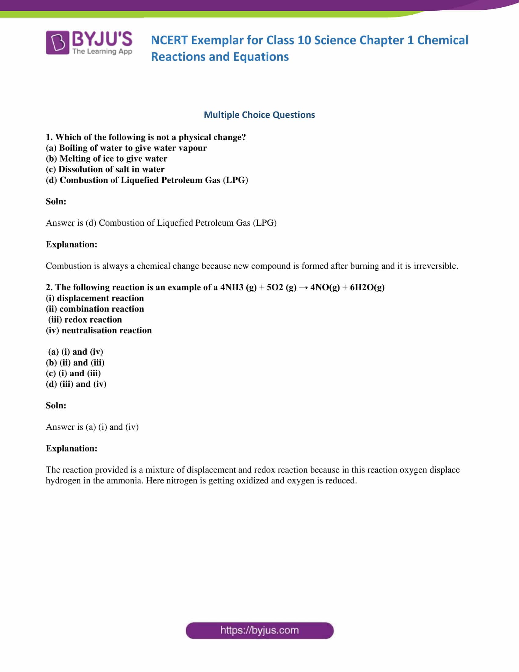 NCERT Exemplar Class 10 Science Solutions Chapter 1