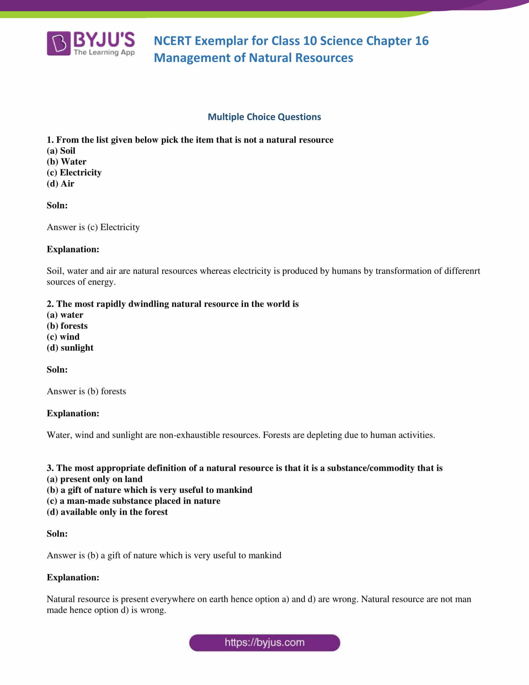 NCERT Exemplar solution class 10 Science Chapter 16 part 01