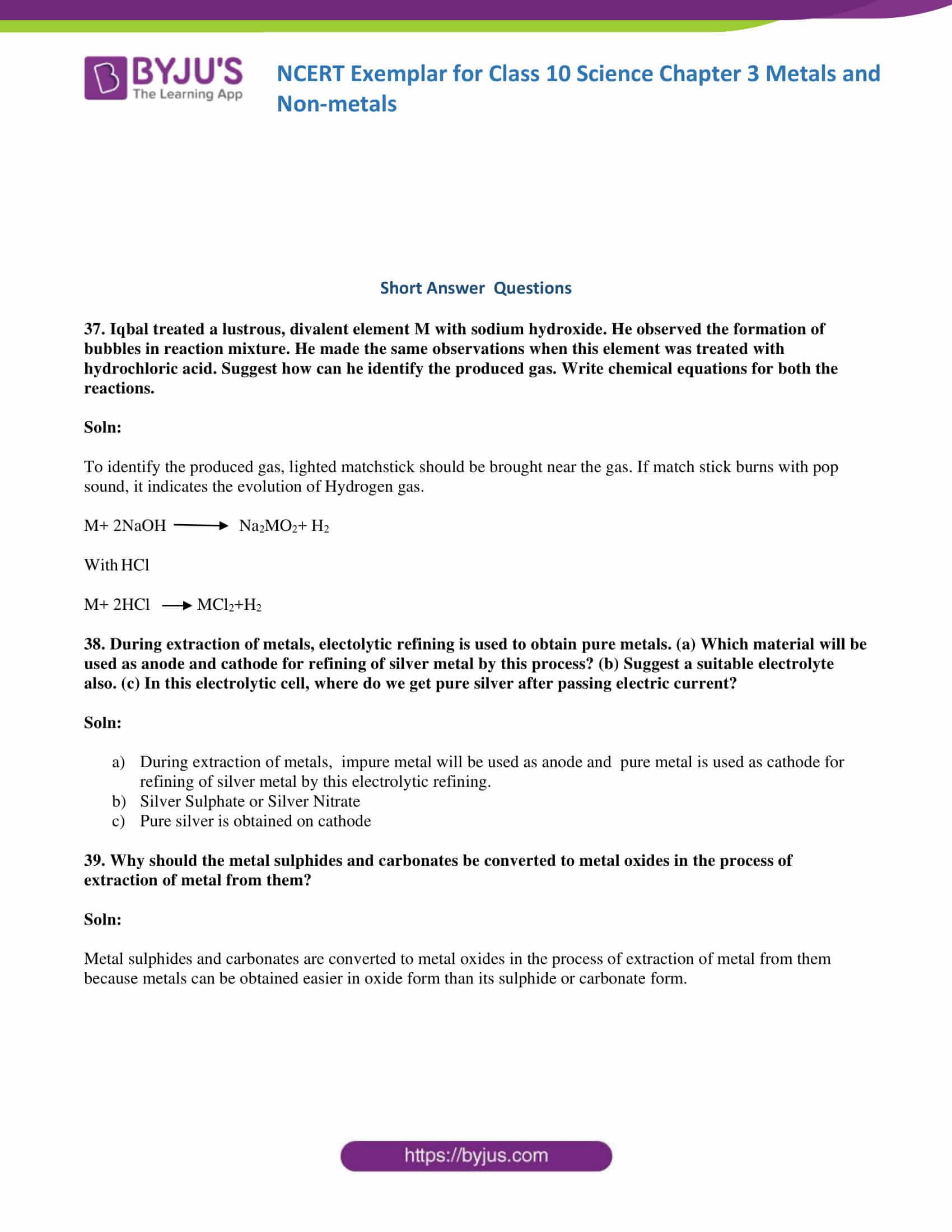 NCERT Exemplar solution class 10 Science Chapter 3 part 13