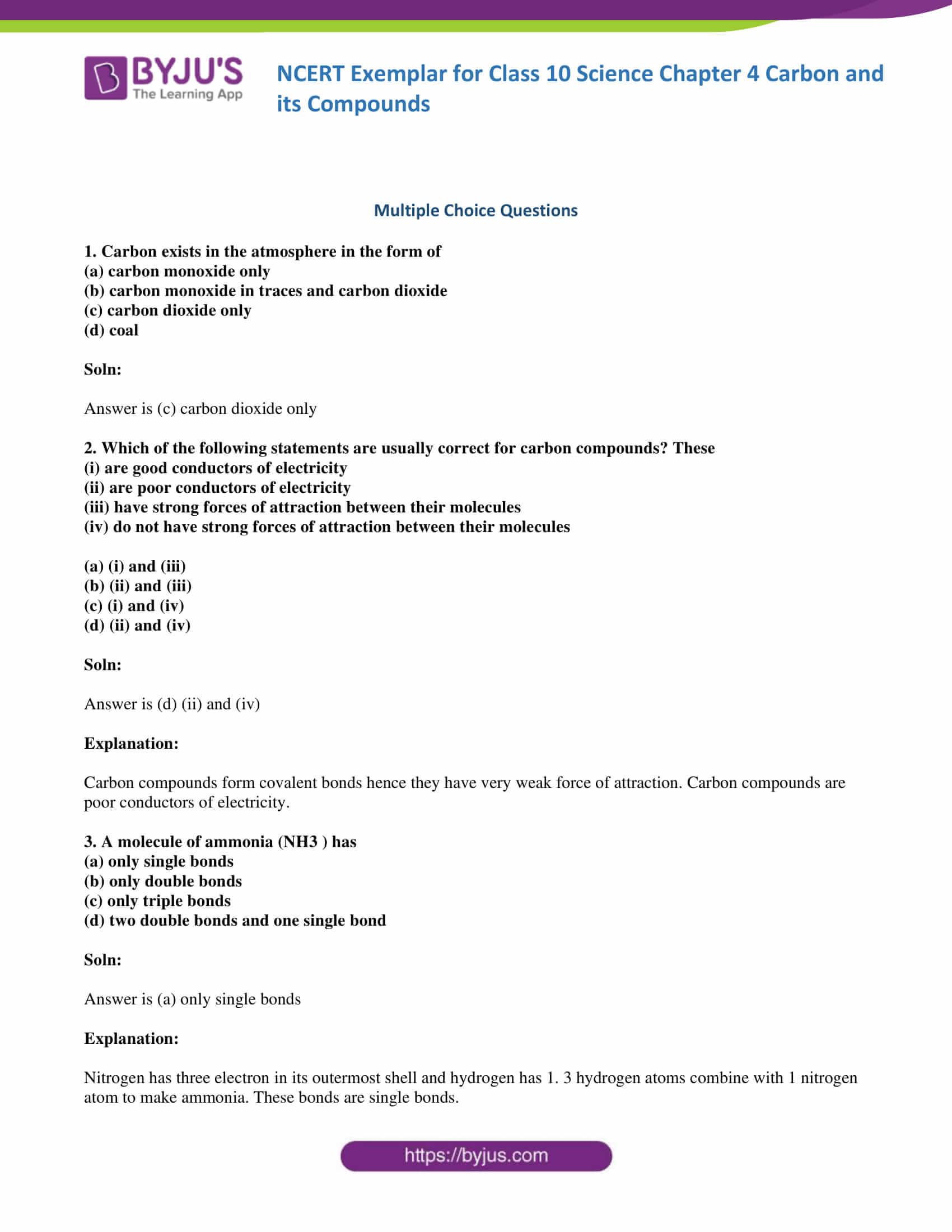 NCERT Exemplar solution class 10 Science Chapter 4 part 01